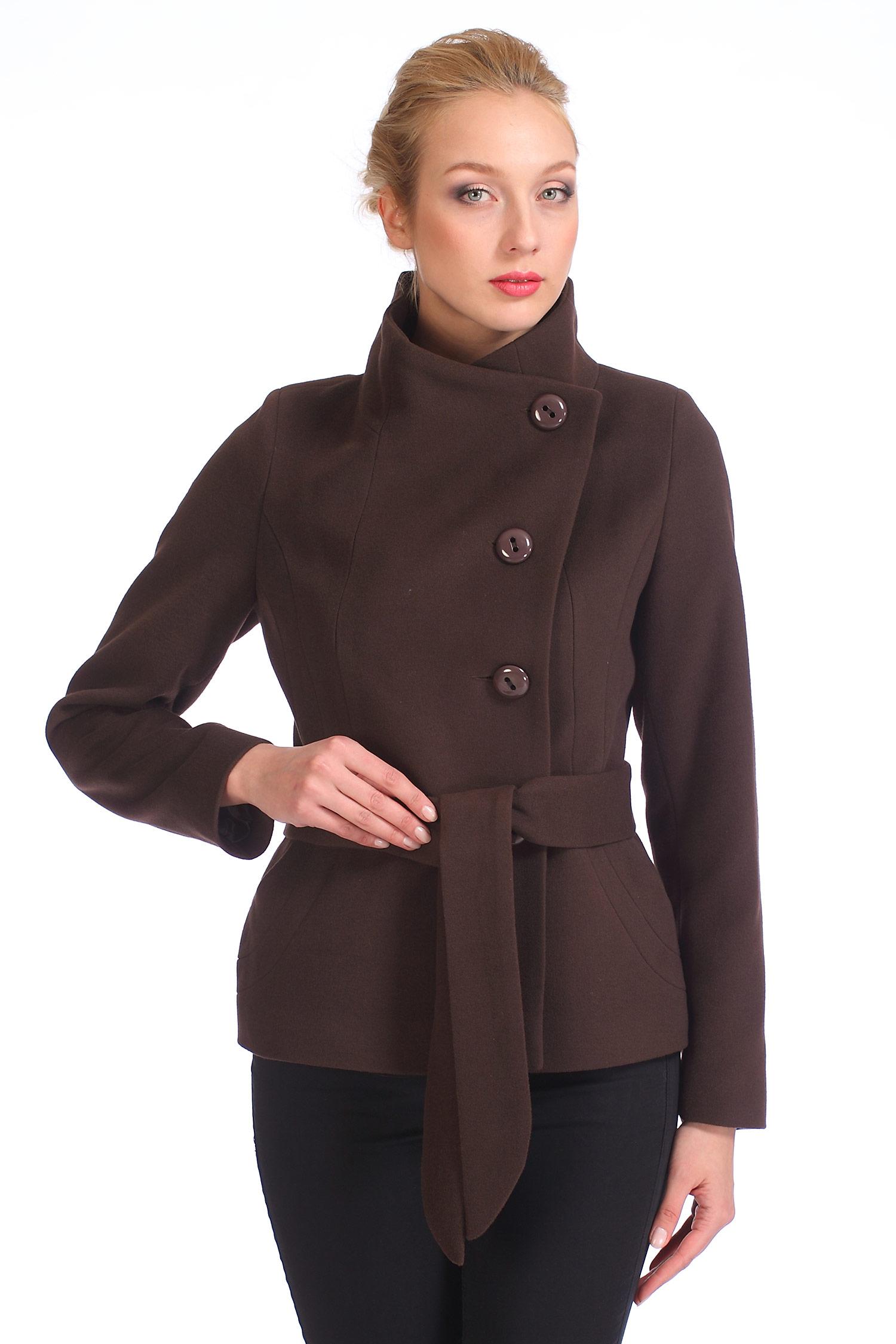 Женское пальто с воротником, без отделки