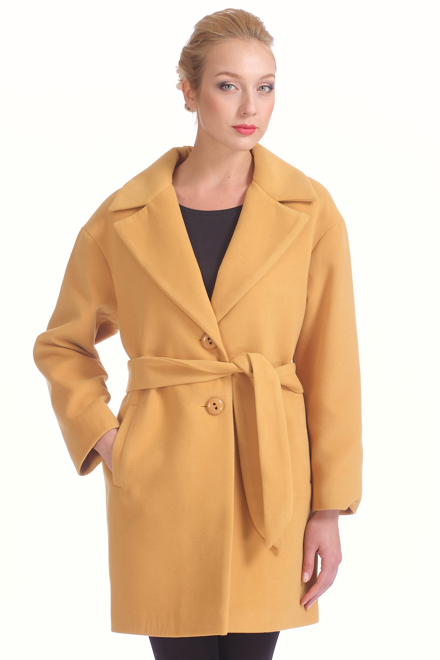 Женское пальто с воротником, без отделки<br><br>Материал: Комбинированный состав<br>Цвет: горчичный<br>Застежка: на пуговицы<br>Вид застежки: центральная<br>Воротник: английский<br>Длина см: Длинная (свыше 90)<br>Пол: Женский<br>Размер RU: 42