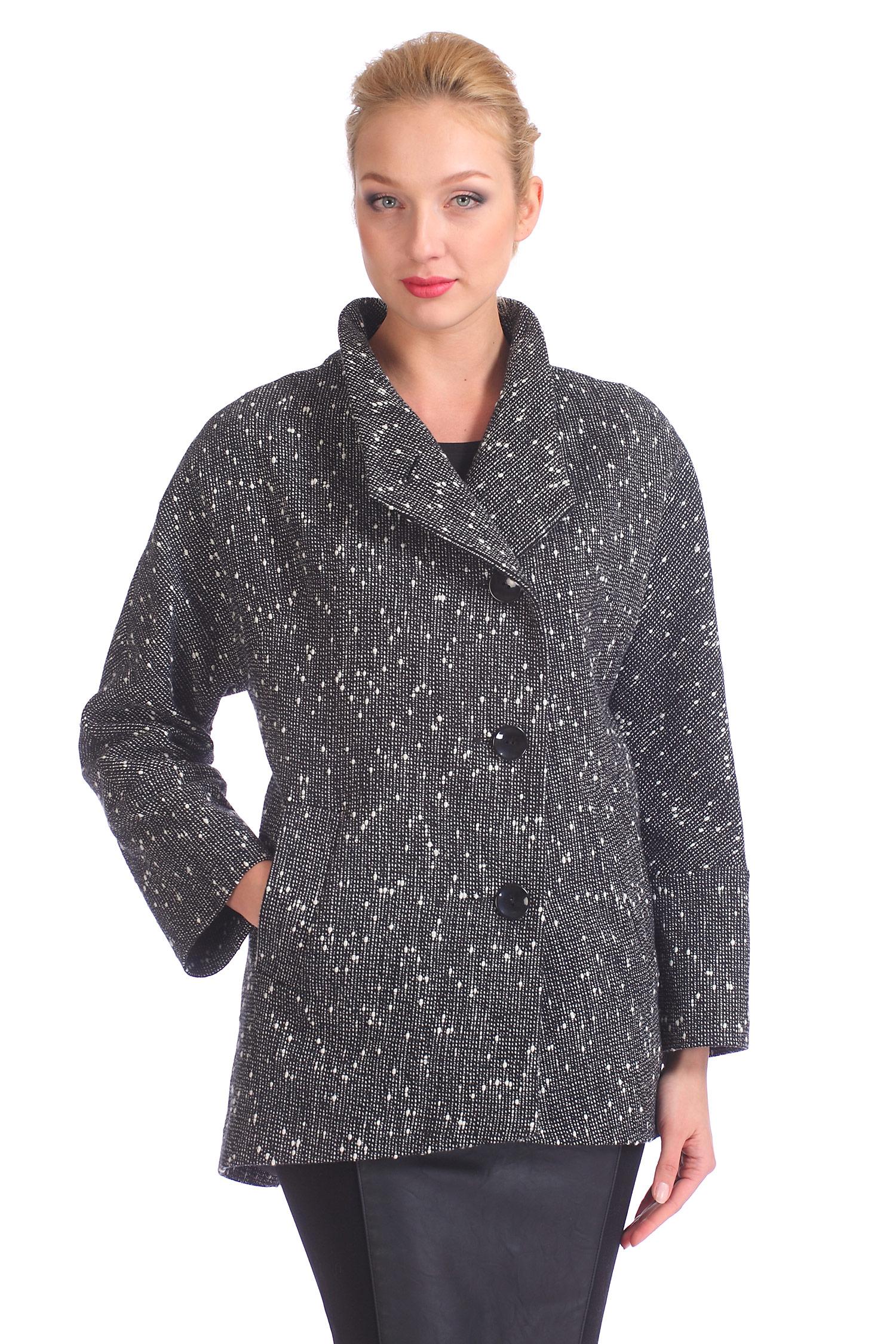Женское пальто с воротником, без отделки<br><br>Воротник: стойка<br>Длина см: Короткая (51-74 )<br>Материал: Комбинированный состав<br>Цвет: серый<br>Вид застежки: центральная<br>Застежка: на пуговицы<br>Пол: Женский<br>Размер RU: 48