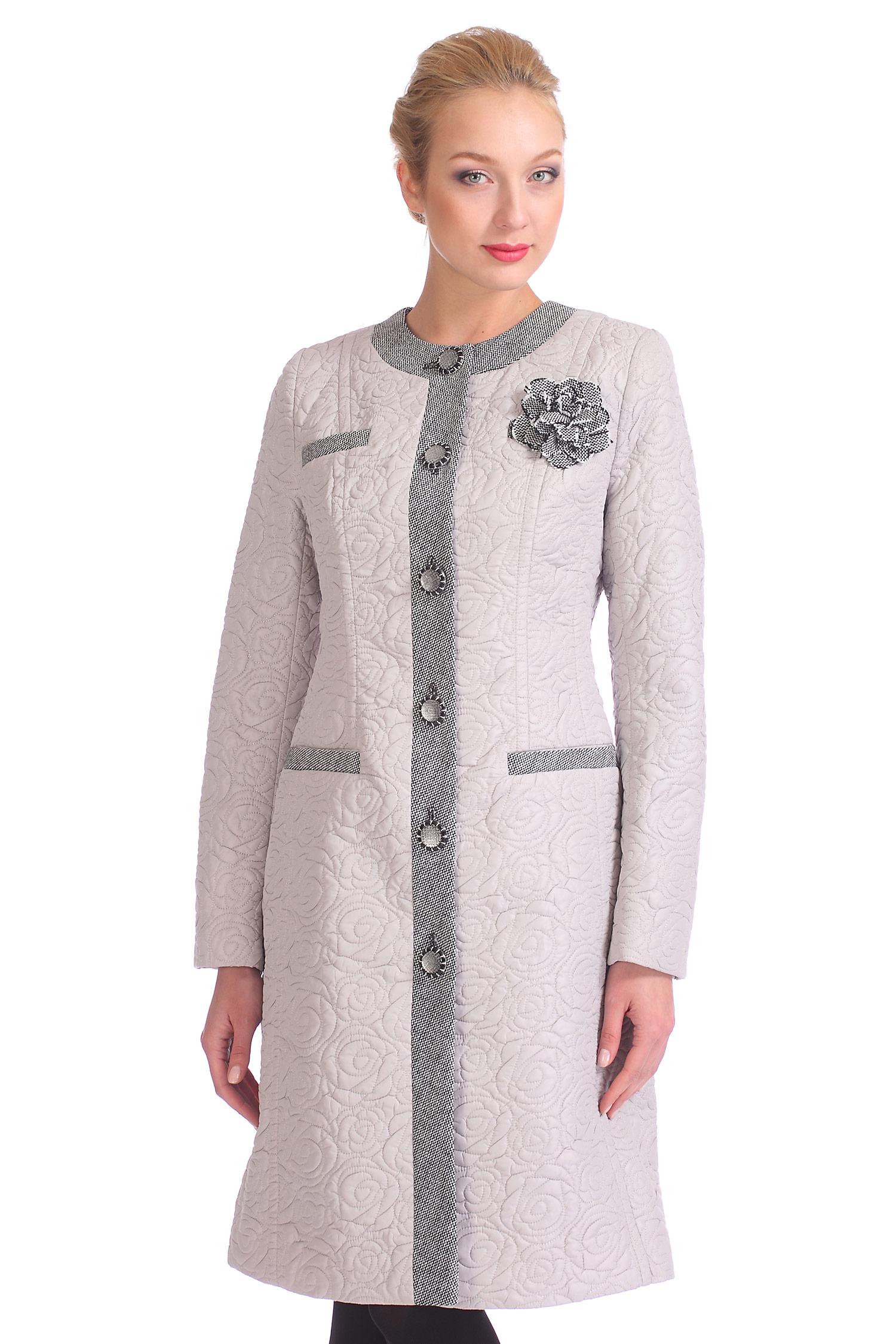 Женское пальто с воротником, без отделки<br><br>Воротник: Шанель<br>Длина см: 100<br>Материал: 100% полиэстер<br>Цвет: Светло-бежевый<br>Пол: Женский