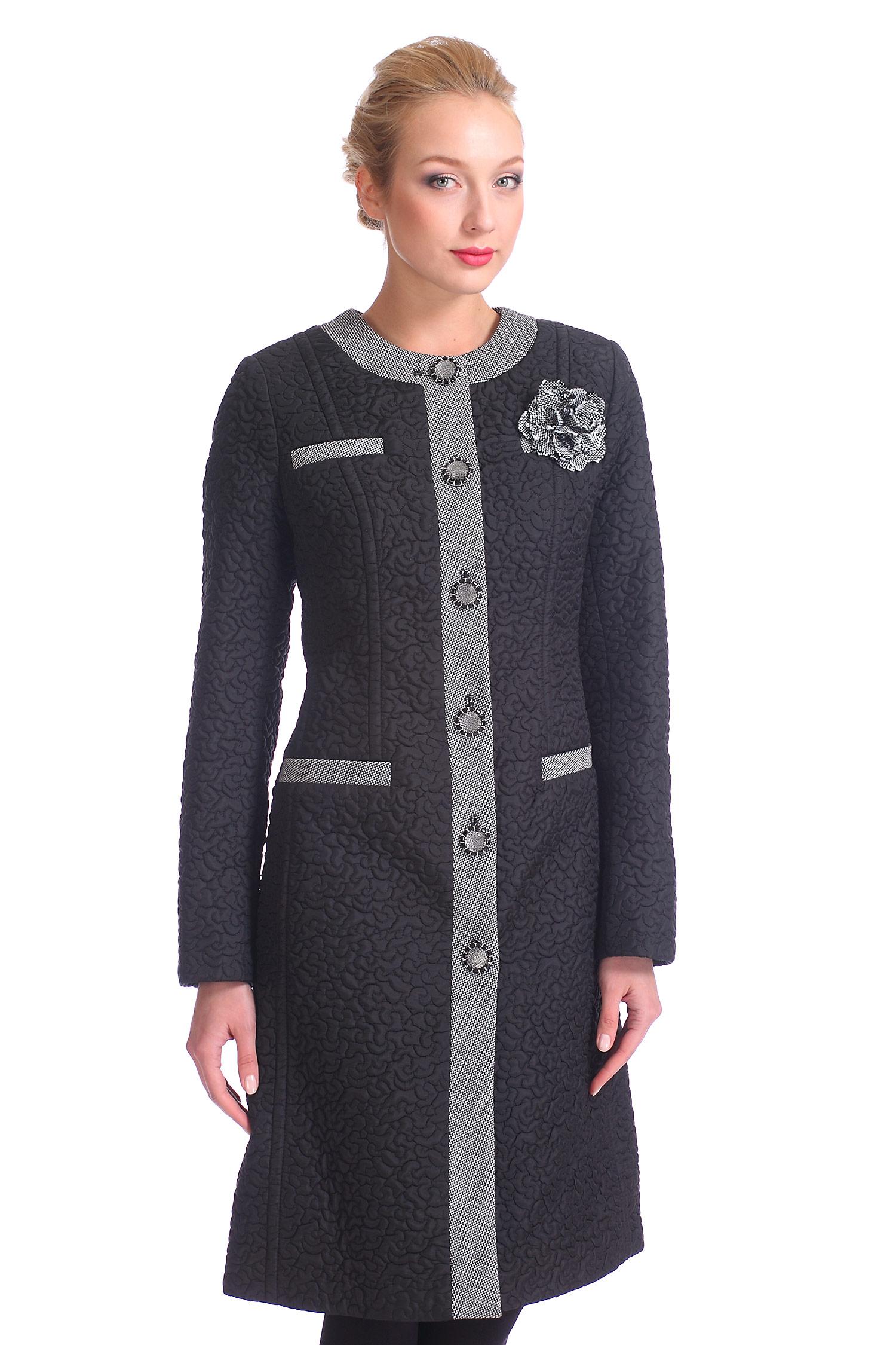 Женское пальто с воротником, без отделки<br><br>Воротник: Шанель<br>Длина см: 100<br>Материал: 100% полиэстер<br>Цвет: Черный<br>Пол: Женский