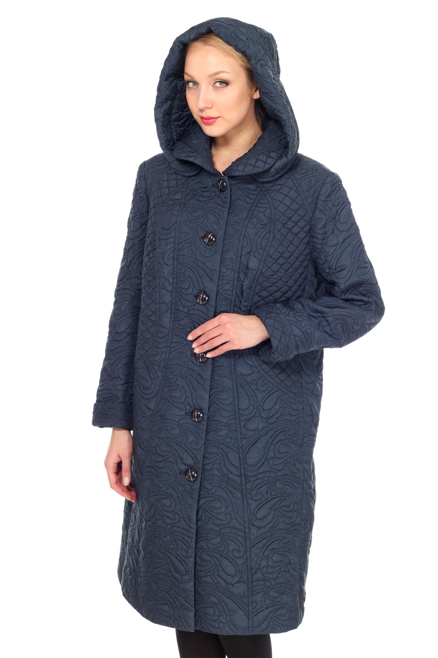 Женское пальто с капюшоном, без отделки<br><br>Воротник: Отложной/капюшон<br>Длина см: 100<br>Материал: 100% полиэстер<br>Цвет: Синий<br>Пол: Женский