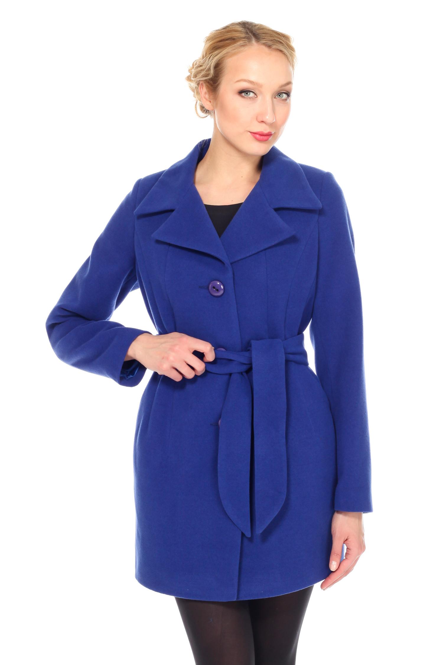 Женское пальто с воротником, без отделки<br><br>Воротник: английский<br>Длина см: Средняя (75-89 )<br>Материал: Комбинированный состав<br>Цвет: синий<br>Вид застежки: центральная<br>Застежка: на пуговицы<br>Пол: Женский<br>Размер RU: 42