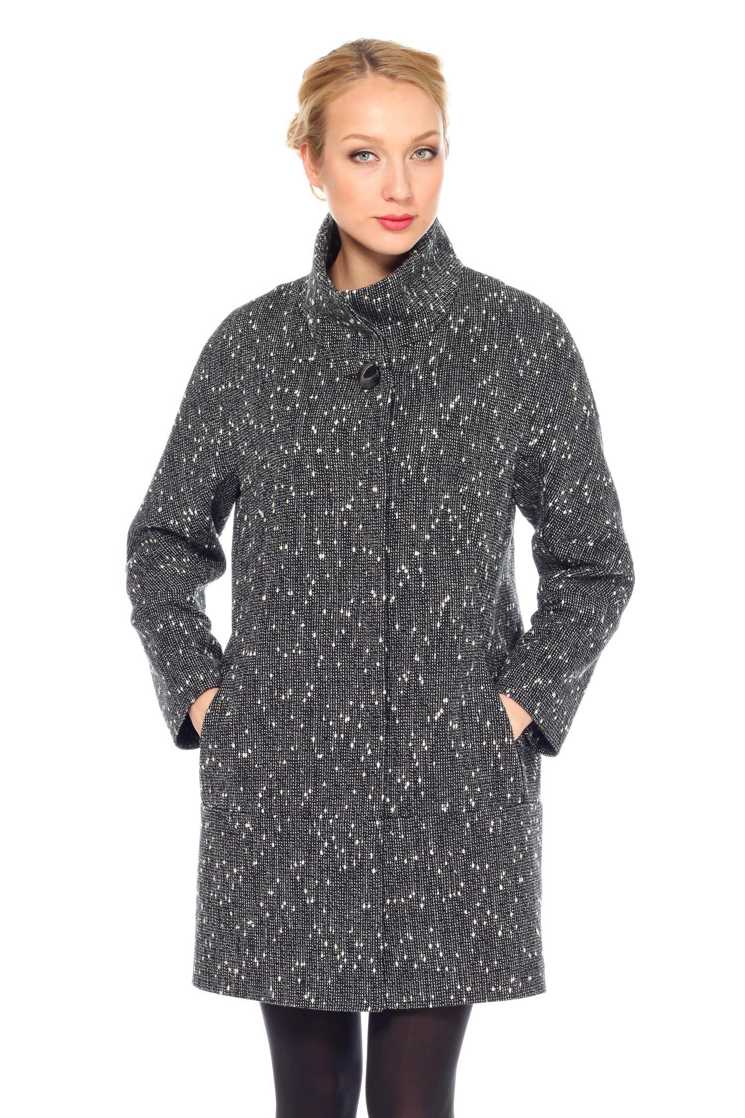 Женское пальто с воротником, без отделки<br><br>Воротник: стойка<br>Длина см: Средняя (75-89 )<br>Материал: Комбинированный состав<br>Цвет: серый<br>Вид застежки: центральная<br>Застежка: на кнопки<br>Пол: Женский<br>Размер RU: 46