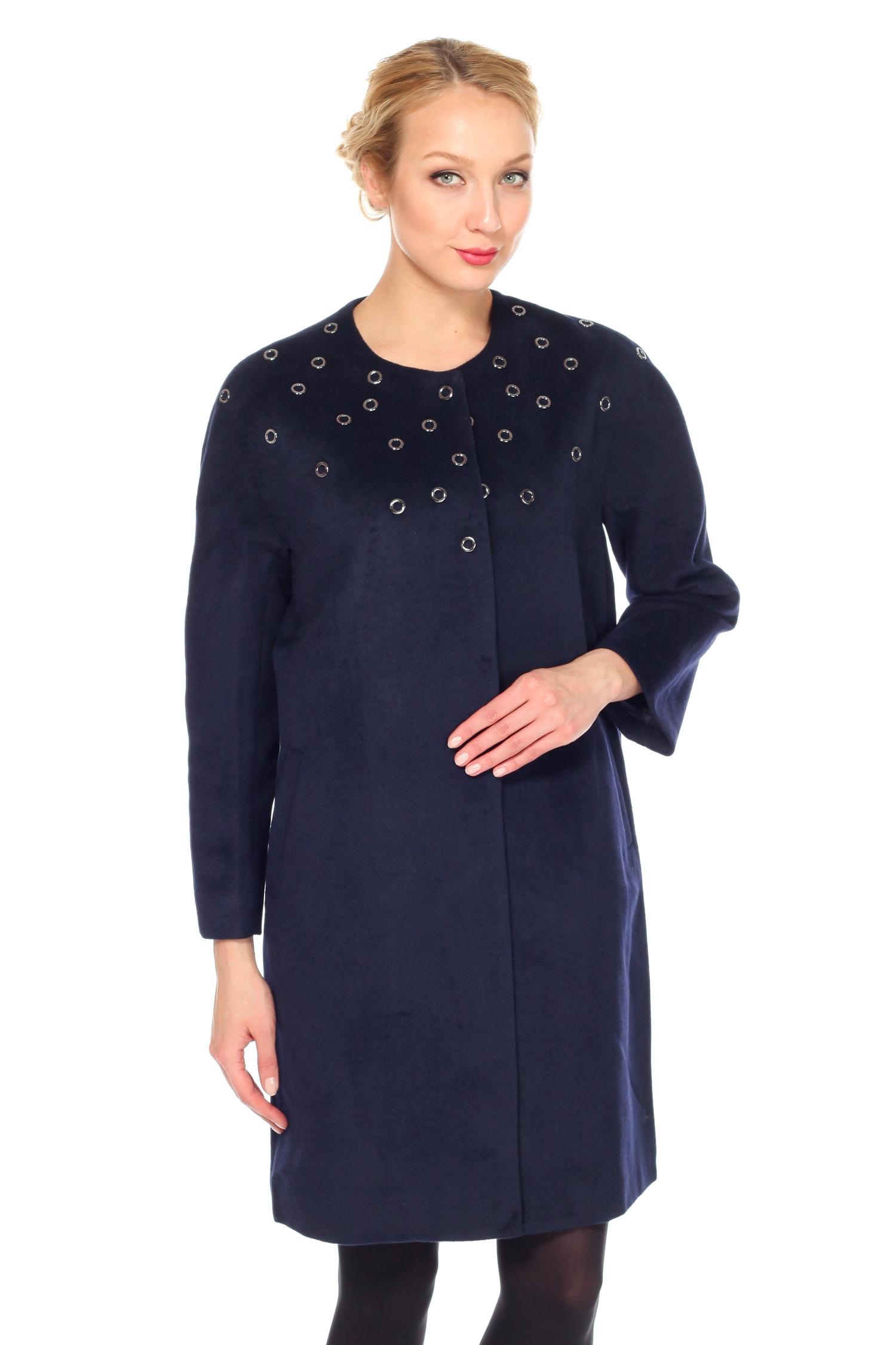 Женское пальто с воротником, без отделки<br><br>Цвет: Темно-синий<br>Воротник: Шанель<br>Длина см: 100<br>Материал: 70% полиэстер 20% шерсть 10% вискоза<br>Пол: Женский<br>Размер RU: 48