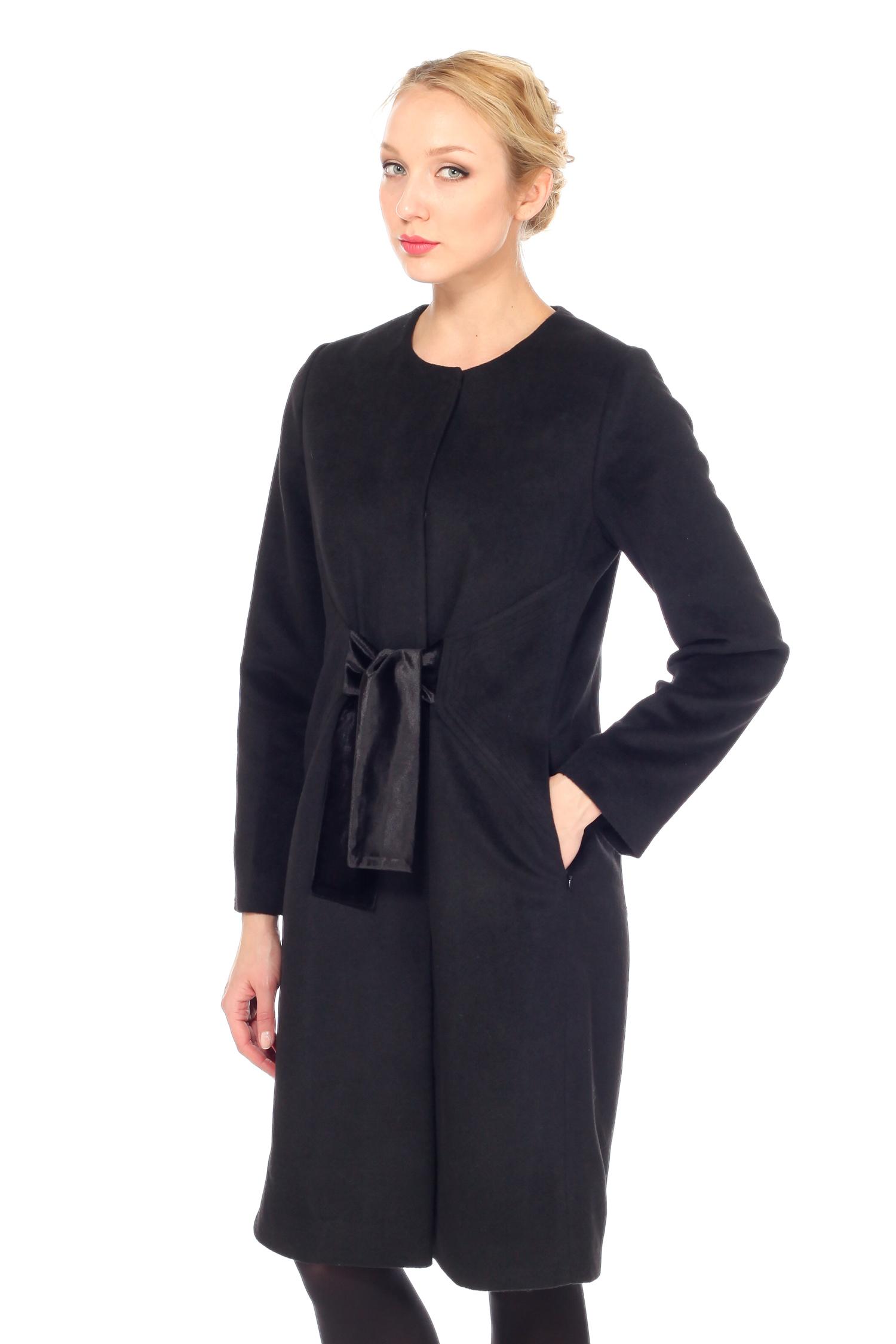 Женское пальто с воротником, без отделки<br><br>Материал: Комбинированный состав<br>Длина см: Длинная (свыше 90)<br>Воротник: без воротника<br>Цвет: черный<br>Вид застежки: центральная<br>Застежка: на кнопки<br>Пол: Женский<br>Размер RU: 46