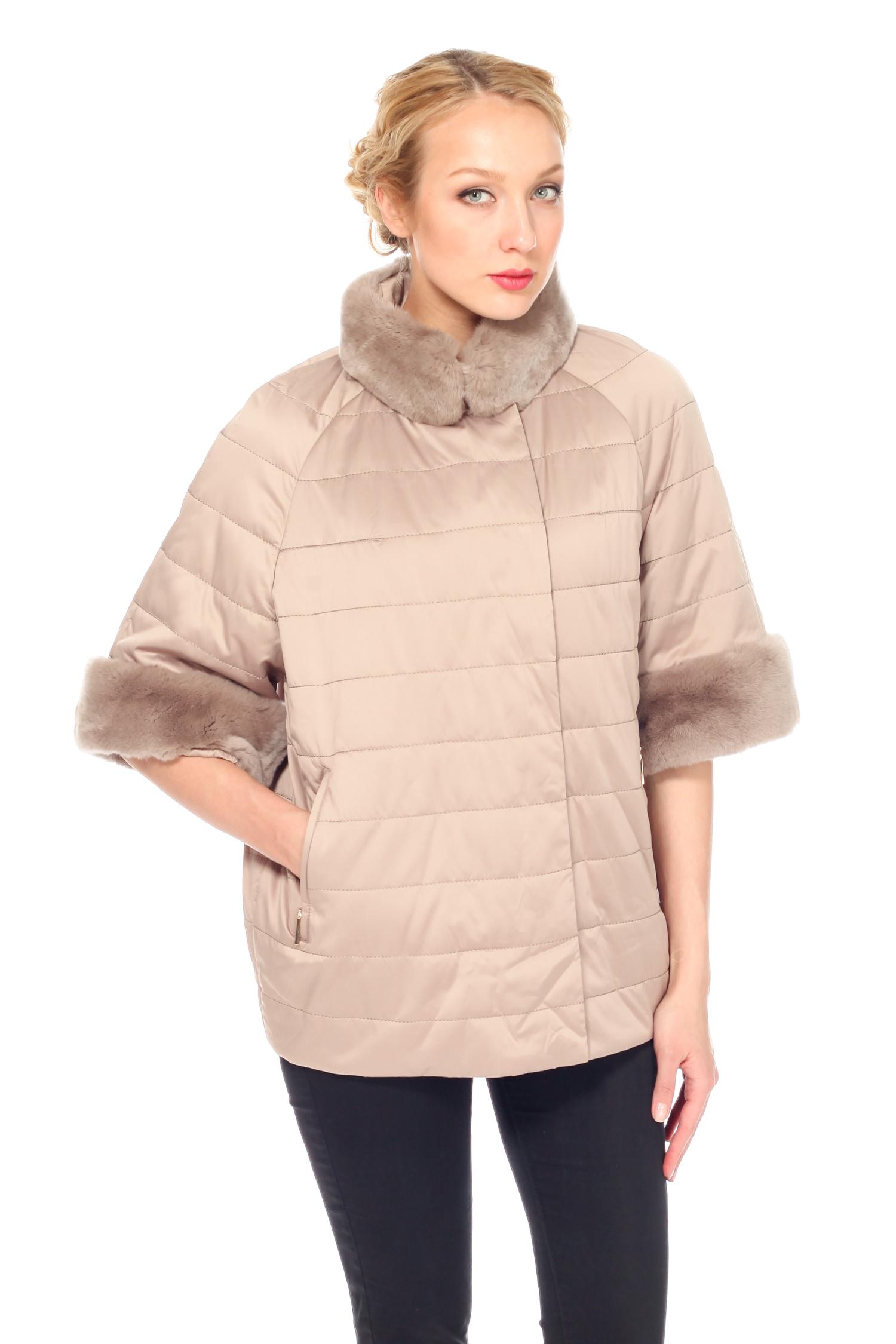 Куртка женская из текстиля с воротником, отделка кролик