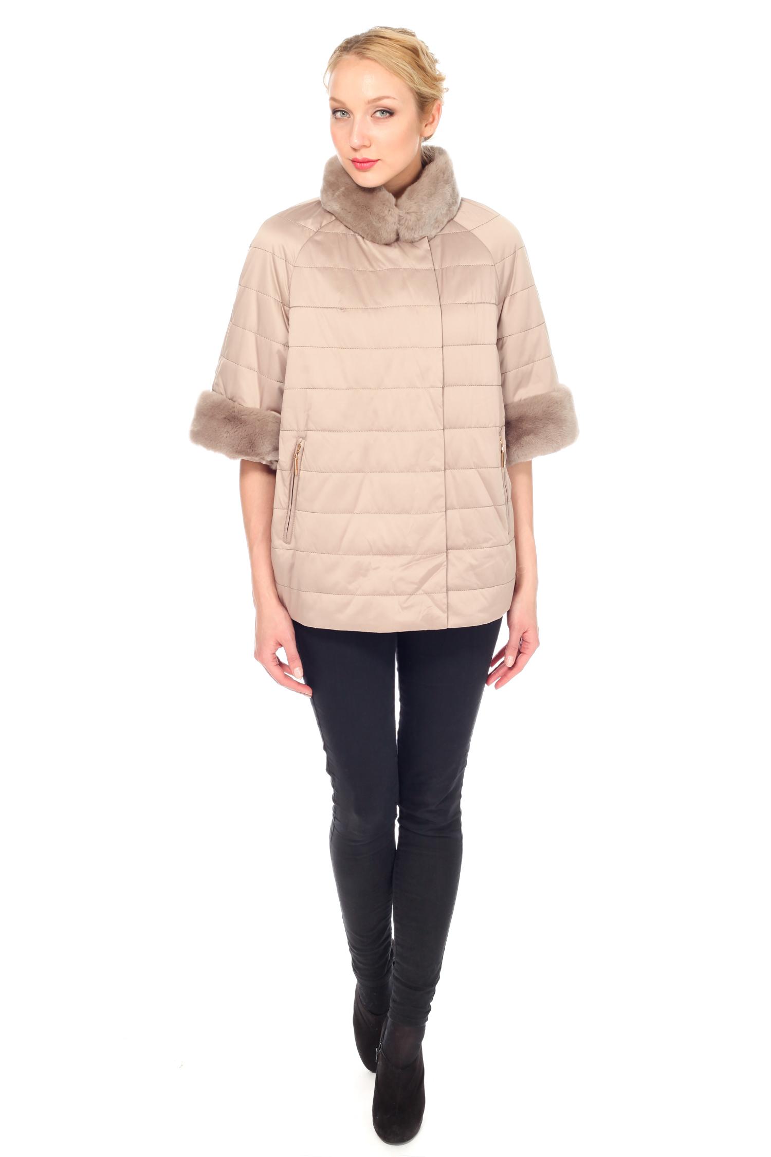Куртка женская из текстиля с воротником, отделка кролик от Московская Меховая Компания