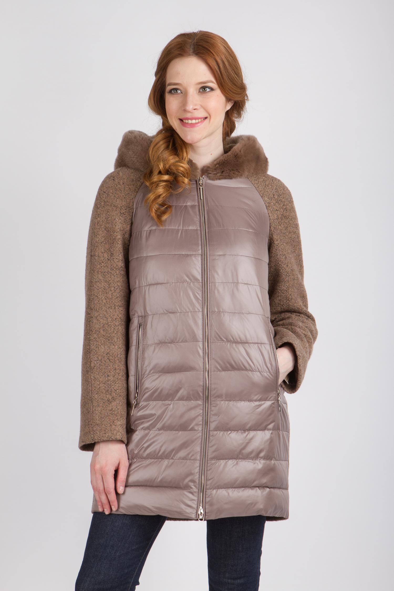 Женское пальто с капюшоном, отделка кролик<br><br>Воротник: капюшон<br>Длина см: Средняя (75-89 )<br>Материал: Текстиль<br>Цвет: бежевый<br>Вид застежки: центральная<br>Застежка: на молнии<br>Пол: Женский<br>Размер RU: 46