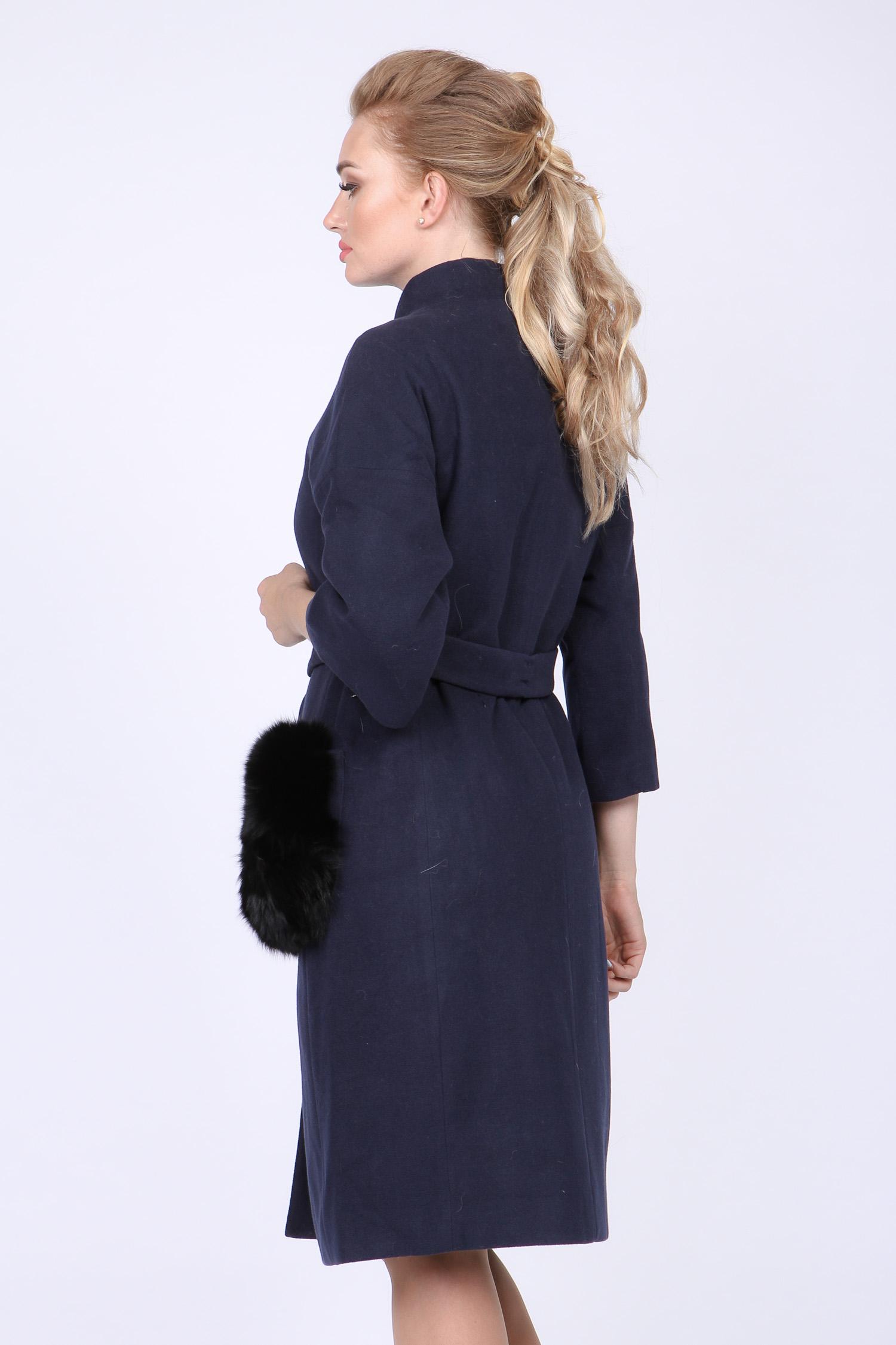Женское пальто с воротником, отделка песец от Московская Меховая Компания