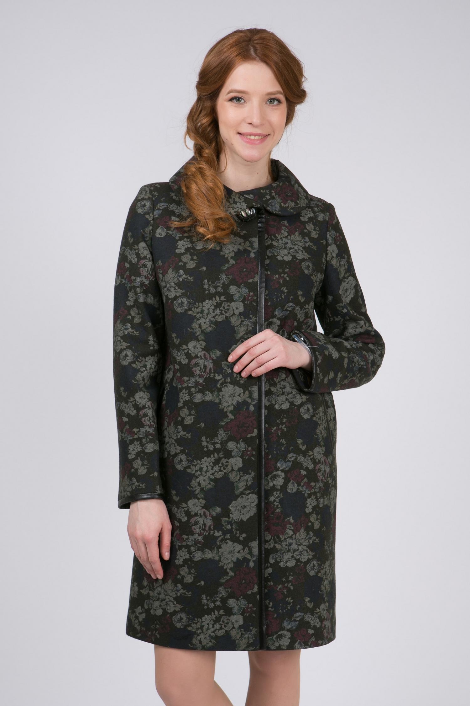 Женское пальто с воротником, без отделки<br><br>Воротник: отложной<br>Длина см: Длинная (свыше 90)<br>Материал: Комбинированный состав<br>Цвет: зеленый<br>Вид застежки: косая<br>Застежка: на кнопки<br>Пол: Женский<br>Размер RU: 56