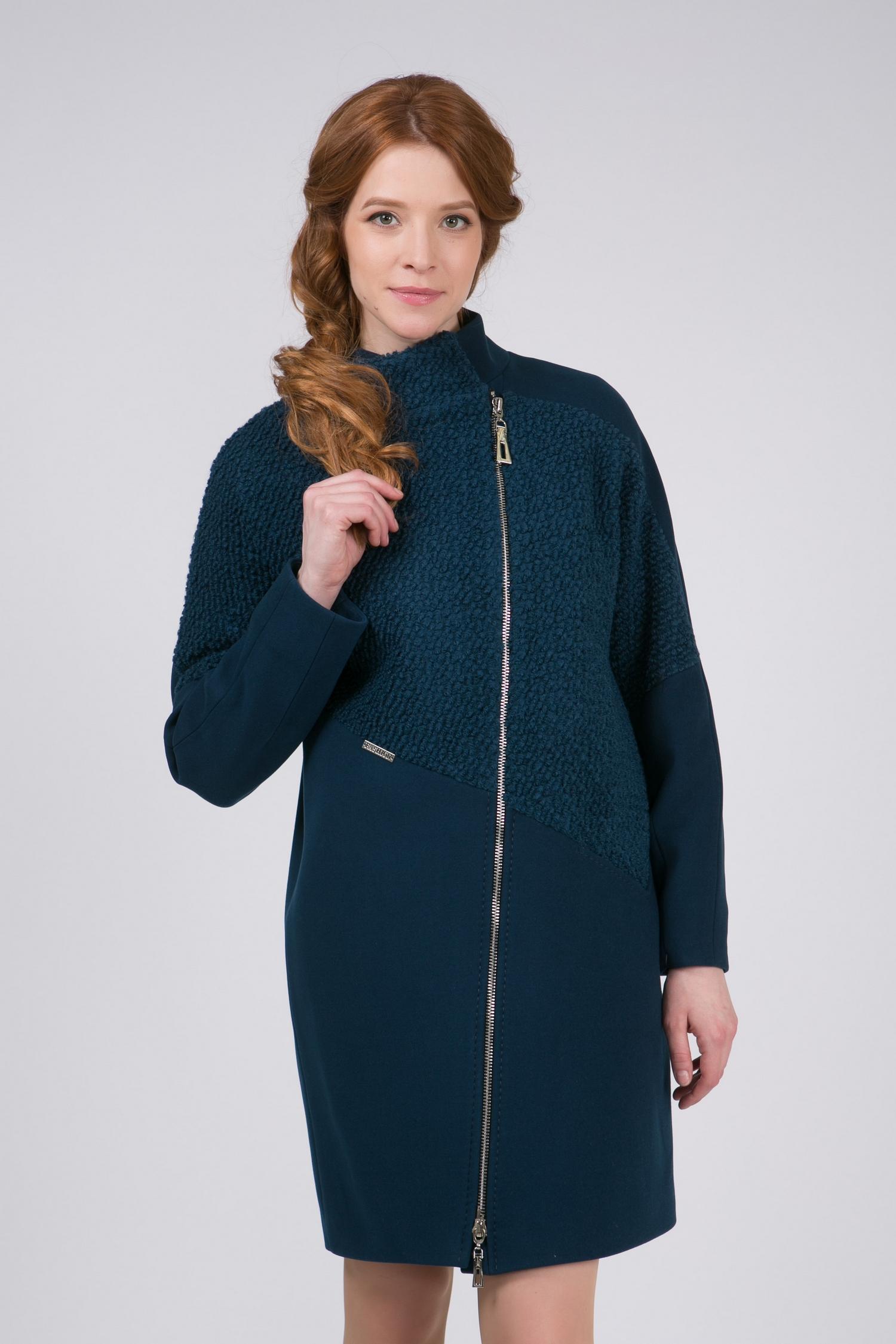 Пальто женское из текстиля с воротником, без отделки<br><br>Воротник: стойка<br>Длина см: Длинная (свыше 90)<br>Материал: Комбинированный состав<br>Цвет: синий<br>Вид застежки: косая<br>Застежка: на молнии<br>Пол: Женский<br>Размер RU: 54