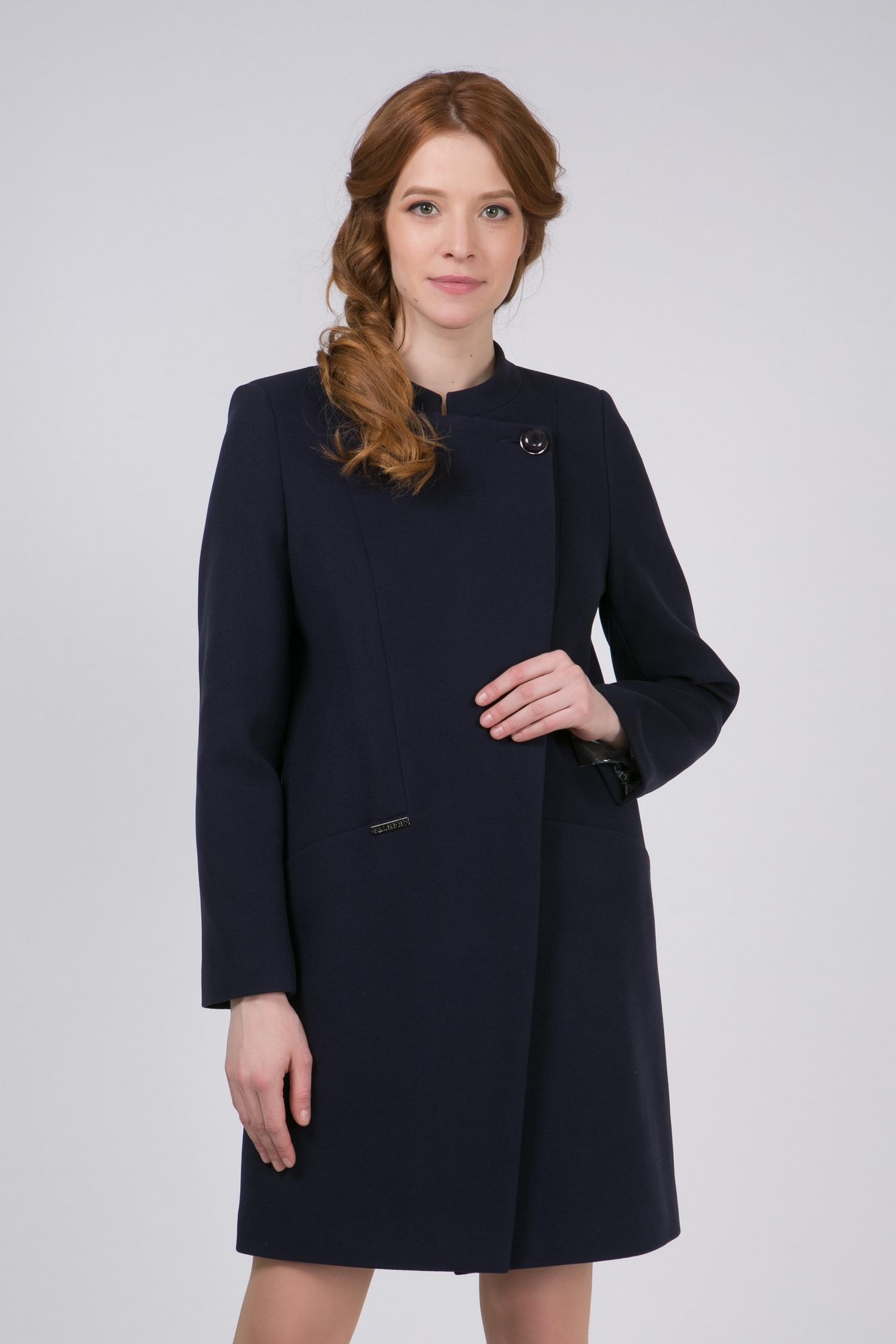 Пальто женское из текстиля с воротником, без отделки<br><br>Воротник: стойка<br>Длина см: Длинная (свыше 90)<br>Материал: Комбинированный состав<br>Цвет: синий<br>Вид застежки: косая<br>Застежка: на пуговицы<br>Пол: Женский<br>Размер RU: 54
