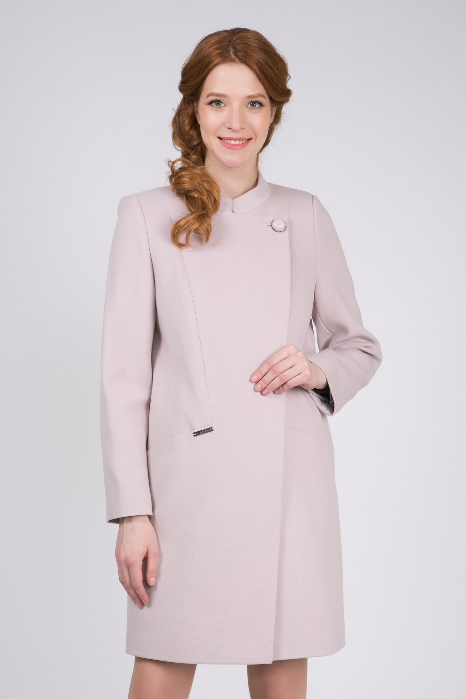 Пальто женское из текстиля с воротником, без отделки<br><br>Воротник: стойка<br>Длина см: Длинная (свыше 90)<br>Материал: Комбинированный состав<br>Цвет: розовый<br>Вид застежки: косая<br>Застежка: на пуговицы<br>Пол: Женский<br>Размер RU: 54