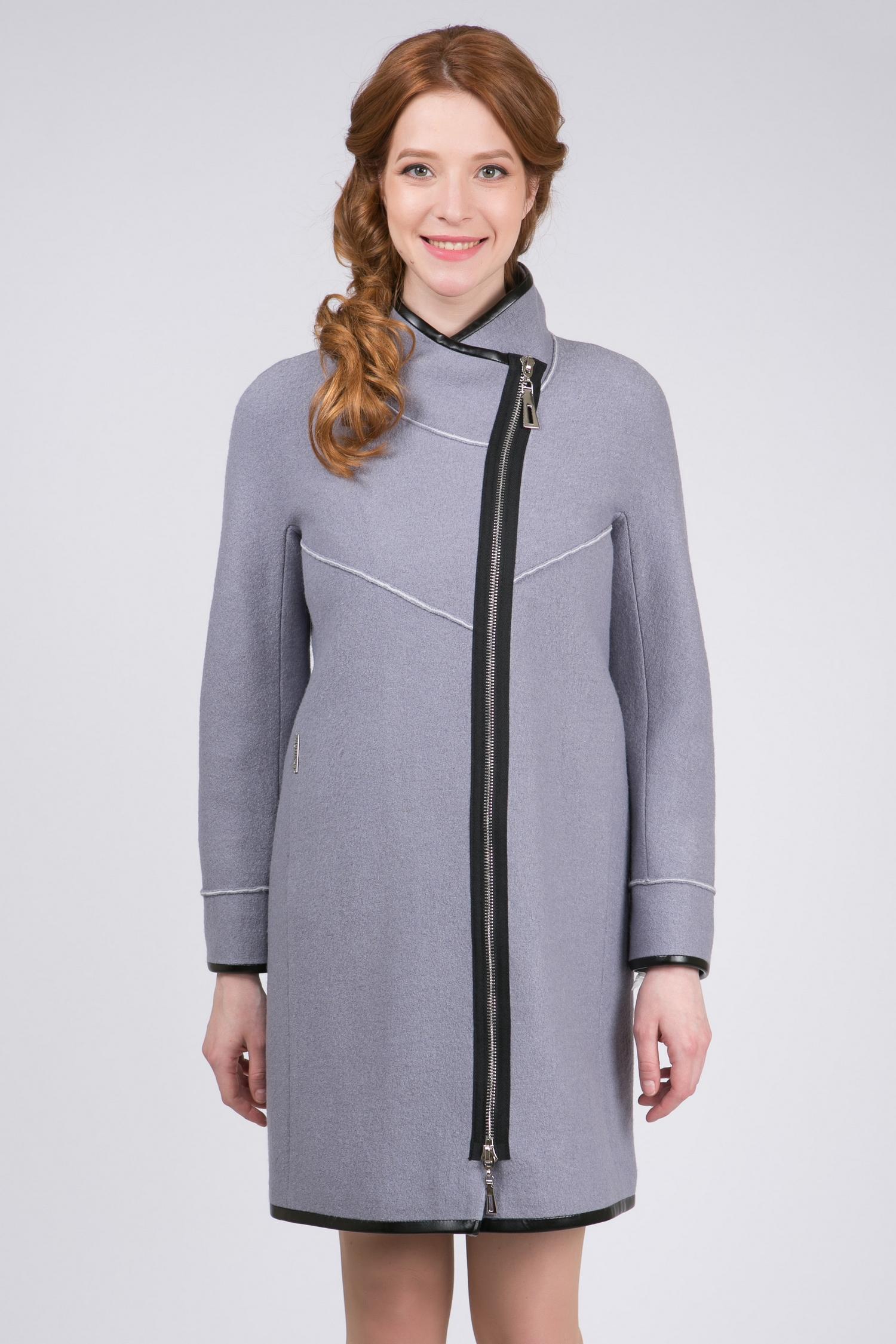 Пальто женское из текстиля с воротником, без отделки