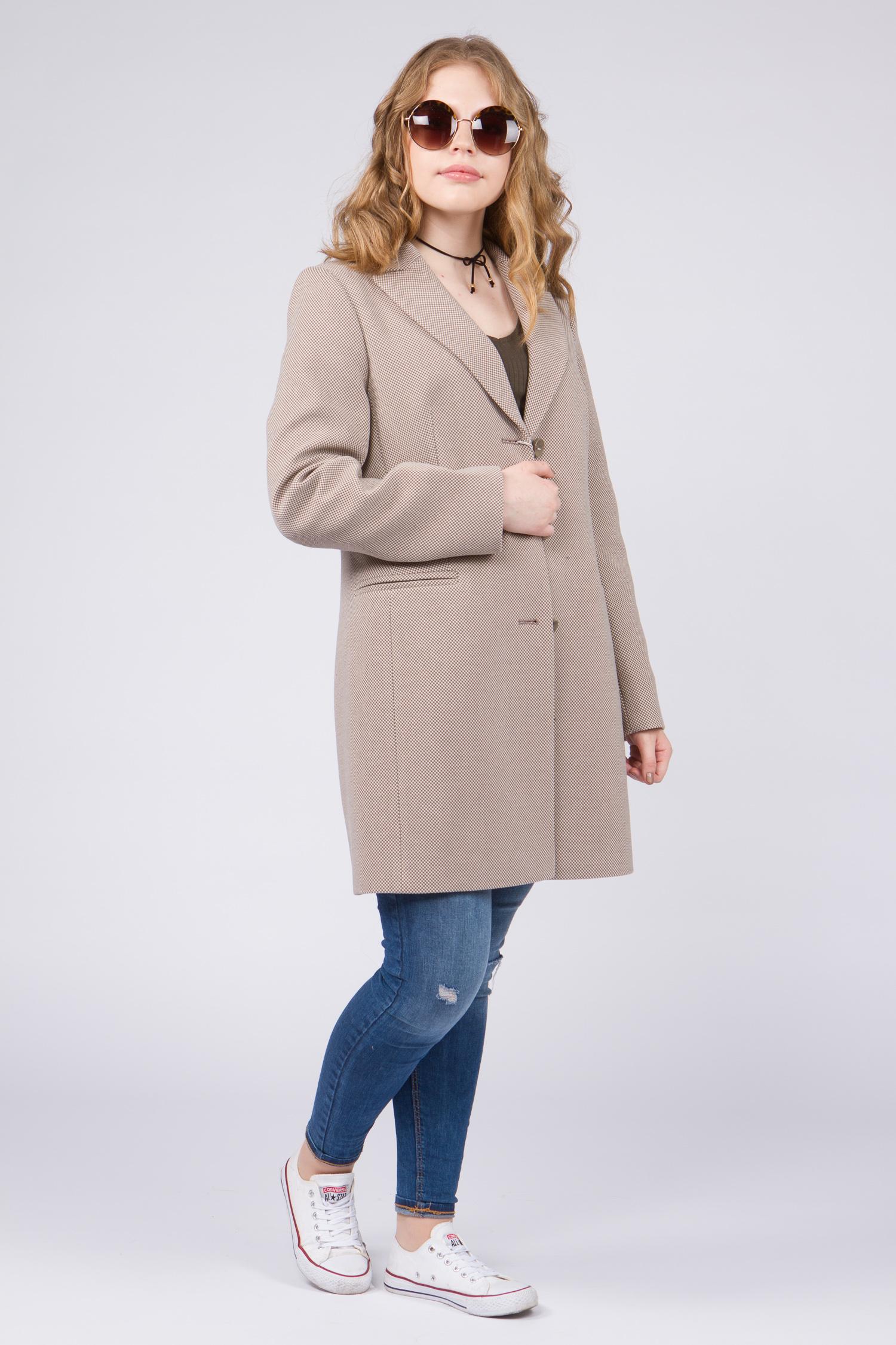 Женское пальто с воротником, без отделки<br><br>Воротник: английский<br>Длина см: Средняя (75-89 )<br>Материал: Комбинированный состав<br>Цвет: бежевый<br>Вид застежки: центральная<br>Застежка: на пуговицы<br>Пол: Женский<br>Размер RU: 48