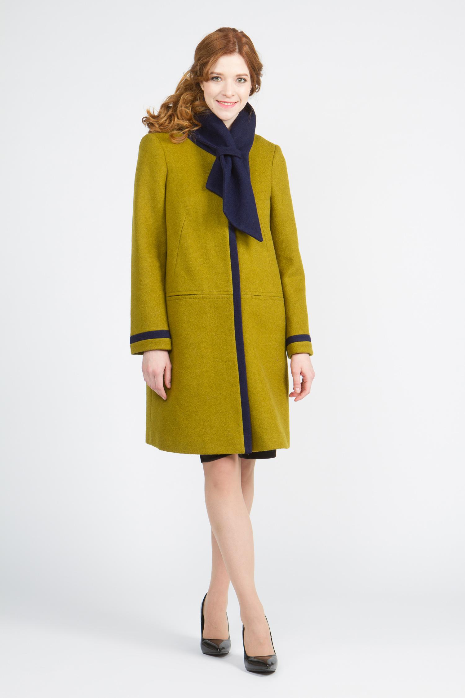 Женское пальто без воротника, без отделки