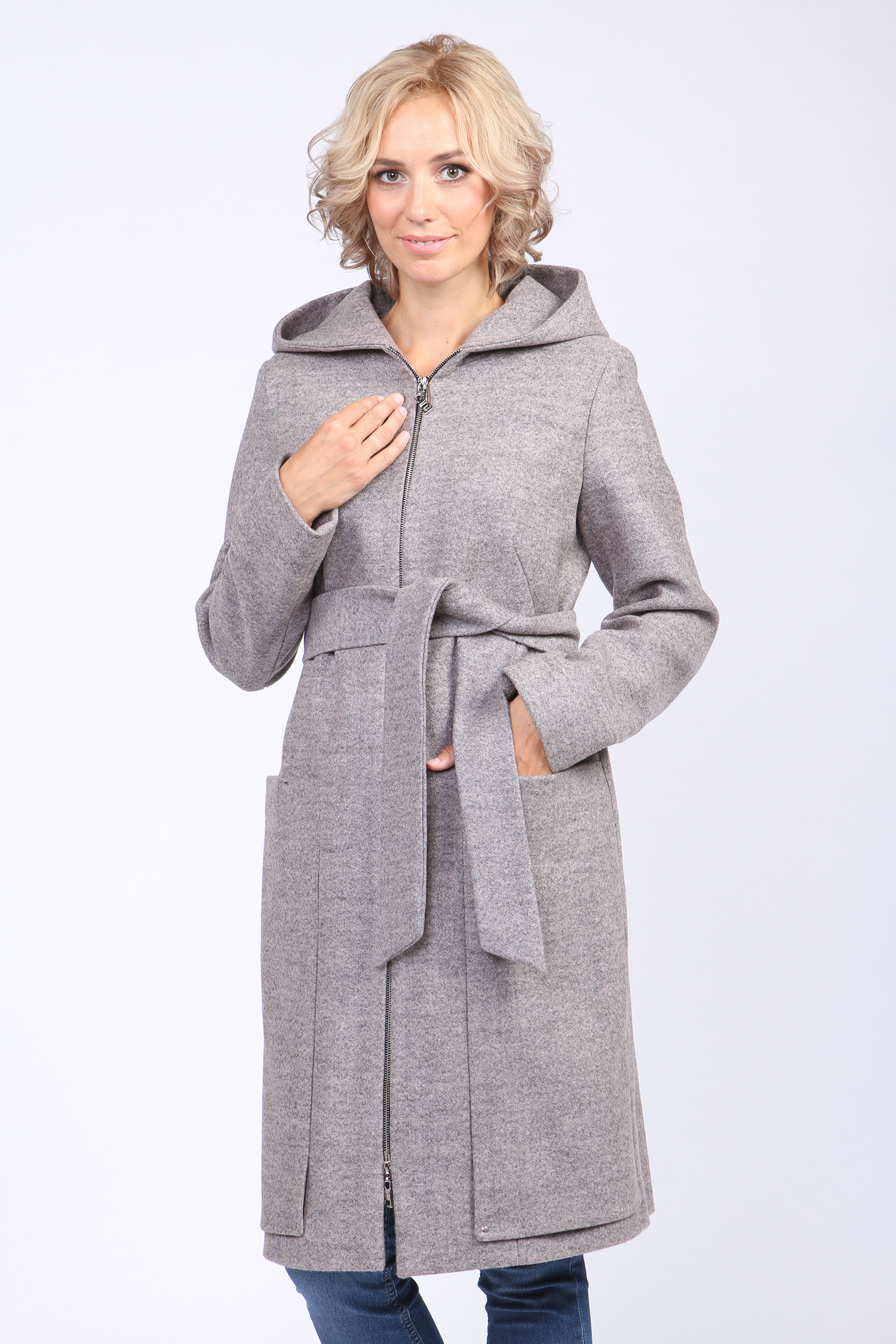 Женское пальто с капюшоном, без отделки
