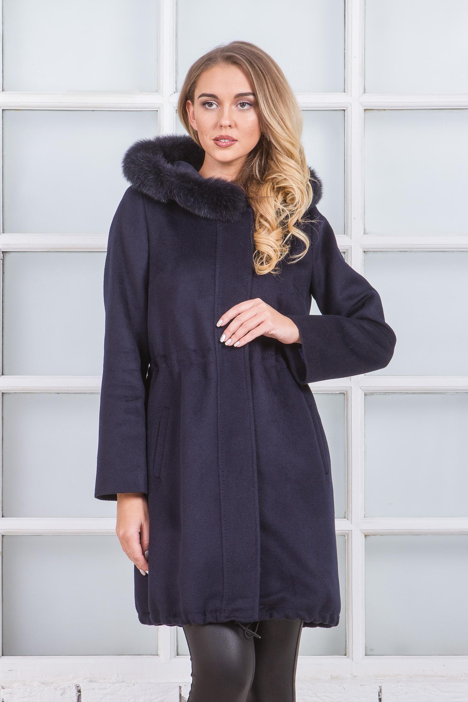 Женское пальто с капюшоном, отделка песец