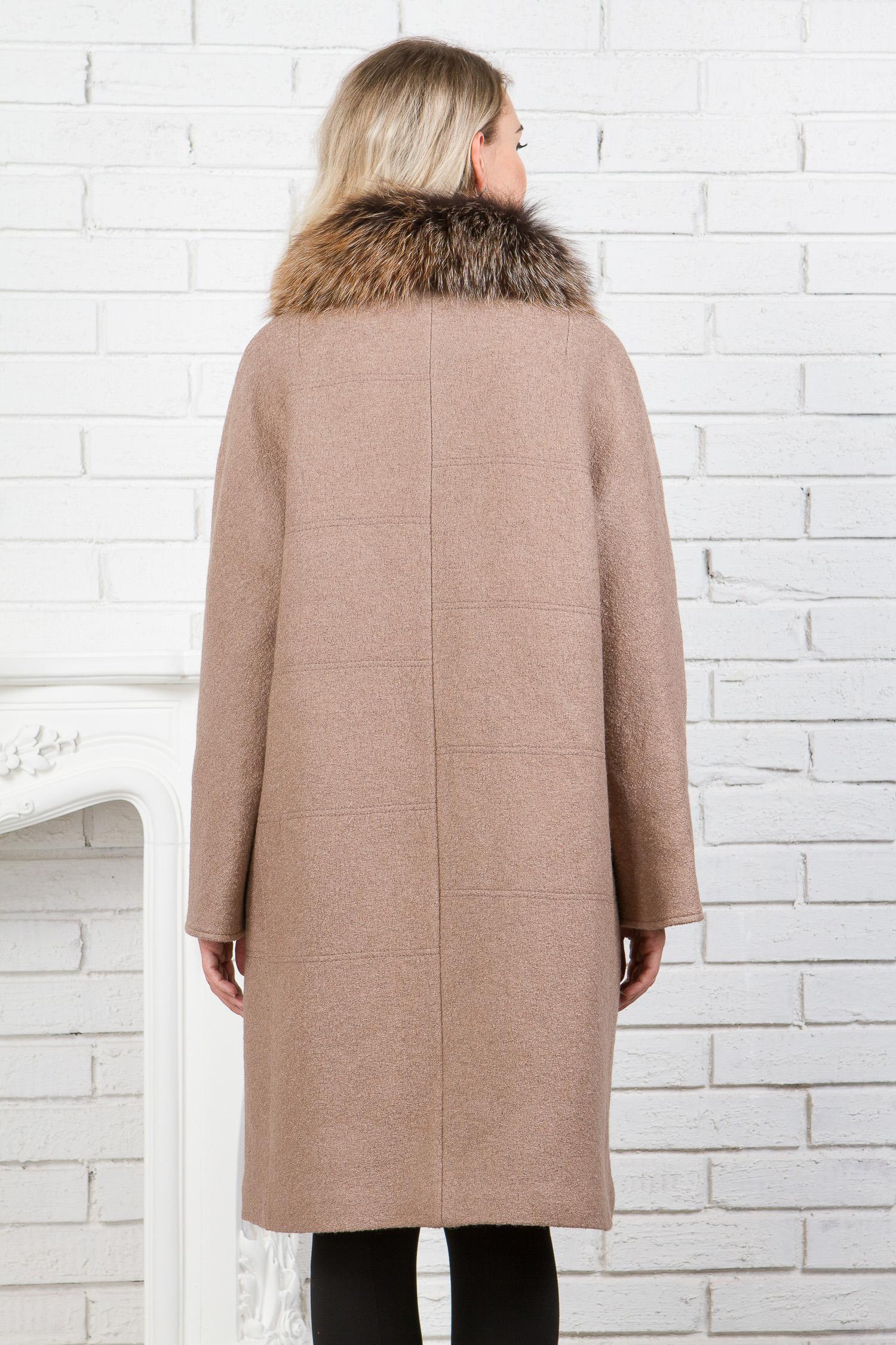 Женское пальто с воротником, отделка лиса