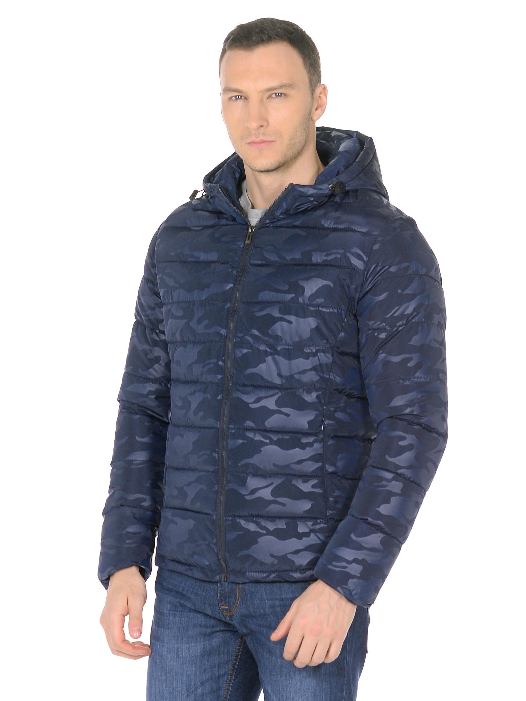 Мужская куртка из текстиля с капюшоном, без отделки<br><br>Воротник: капюшон<br>Длина см: Короткая (51-74 )<br>Материал: Текстиль<br>Цвет: синий<br>Вид застежки: центральная<br>Застежка: на молнии<br>Пол: Мужской<br>Размер RU: 52