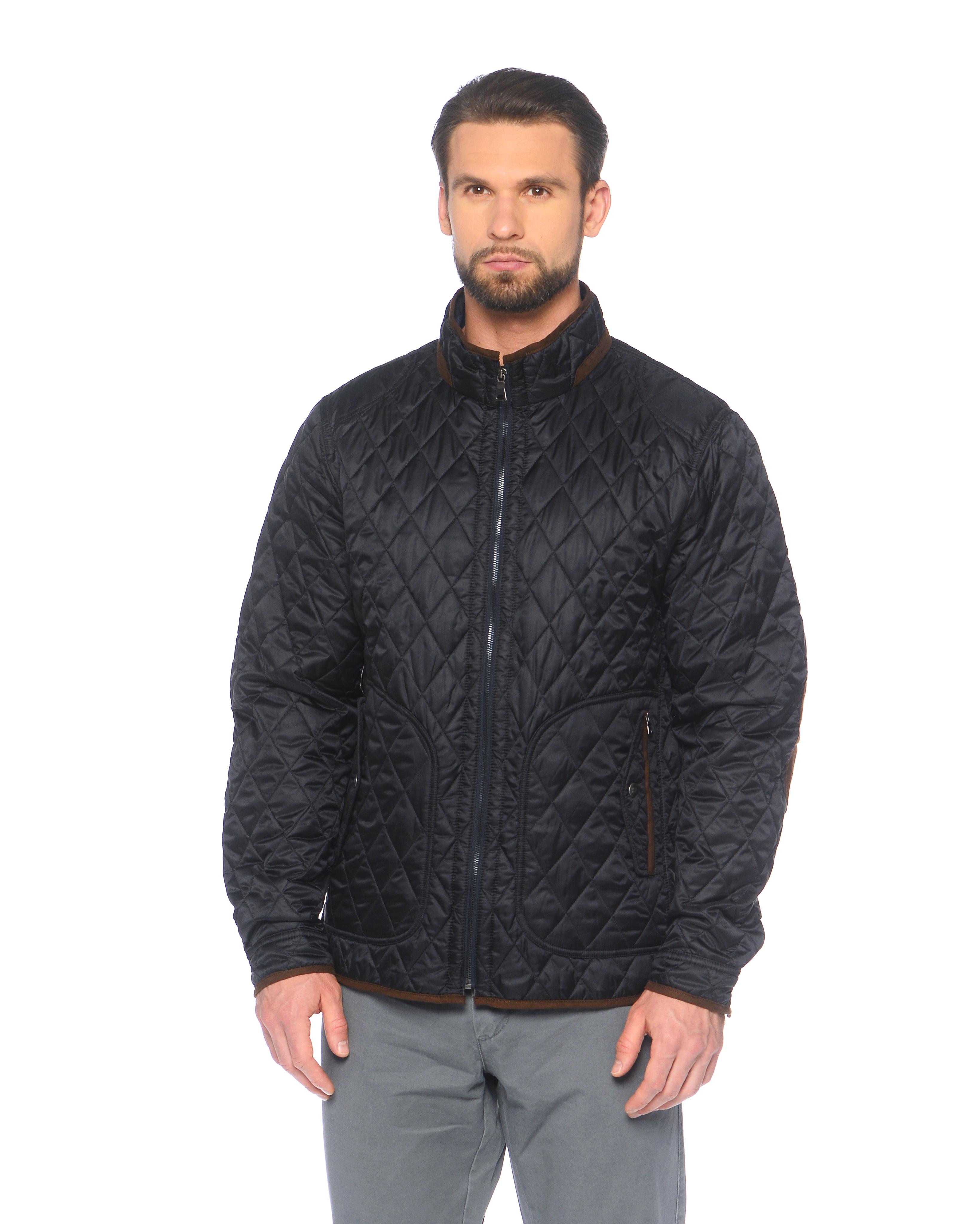 Мужская куртка из текстиля с воротником, без отделки<br><br>Воротник: стойка<br>Длина см: Средняя (75-89 )<br>Материал: Текстиль<br>Цвет: синий<br>Вид застежки: центральная<br>Застежка: на молнии<br>Пол: Мужской<br>Размер RU: 56