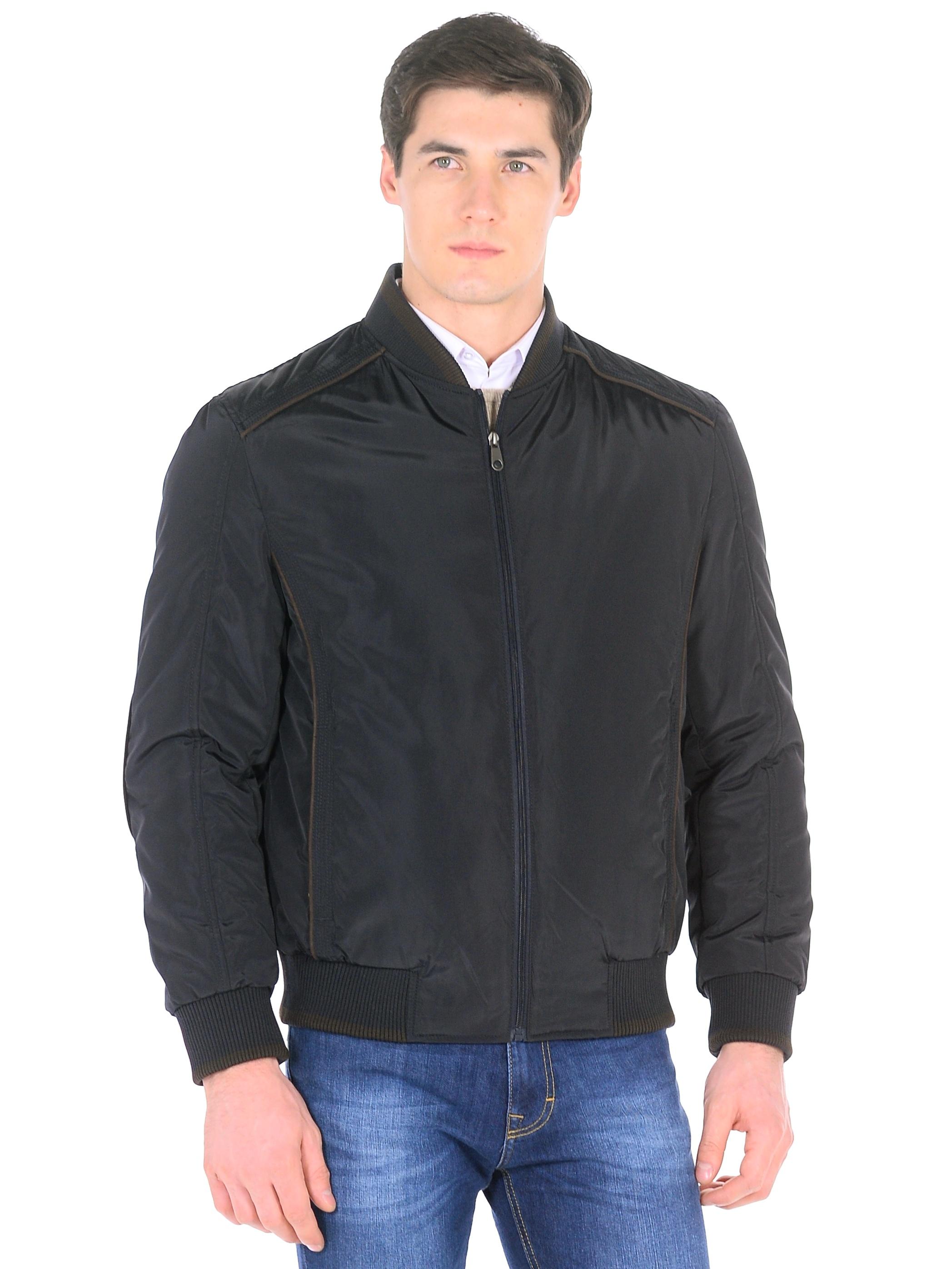 Мужская куртка из текстиля с воротником, без отделки<br><br>Воротник: стойка<br>Длина см: Короткая (51-74 )<br>Материал: Текстиль<br>Цвет: синий<br>Вид застежки: центральная<br>Застежка: на молнии<br>Пол: Мужской<br>Размер RU: 56