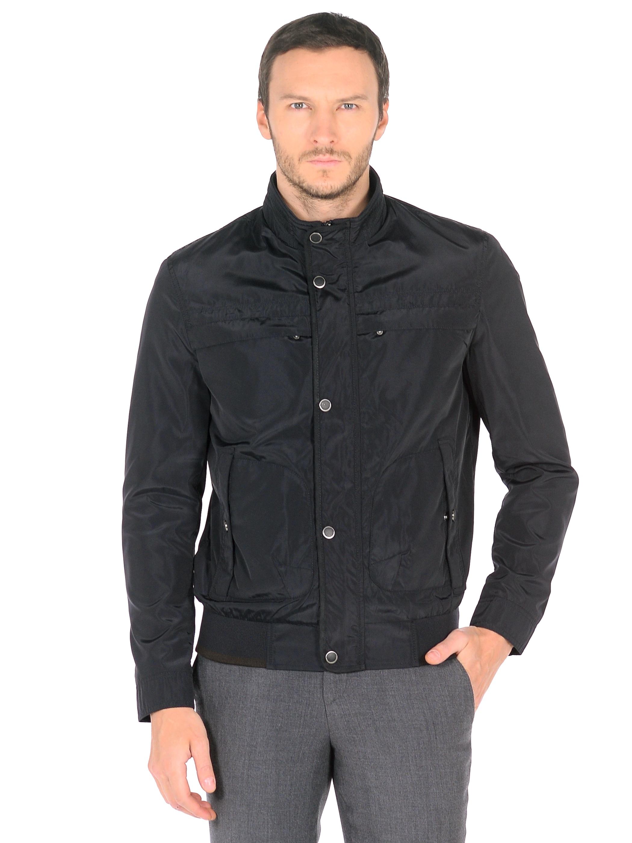Мужская куртка из текстиля с воротником, без отделки<br><br>Воротник: стойка<br>Длина см: Короткая (51-74 )<br>Материал: Текстиль<br>Цвет: синий<br>Вид застежки: потайная<br>Застежка: на молнии<br>Пол: Мужской<br>Размер RU: 56