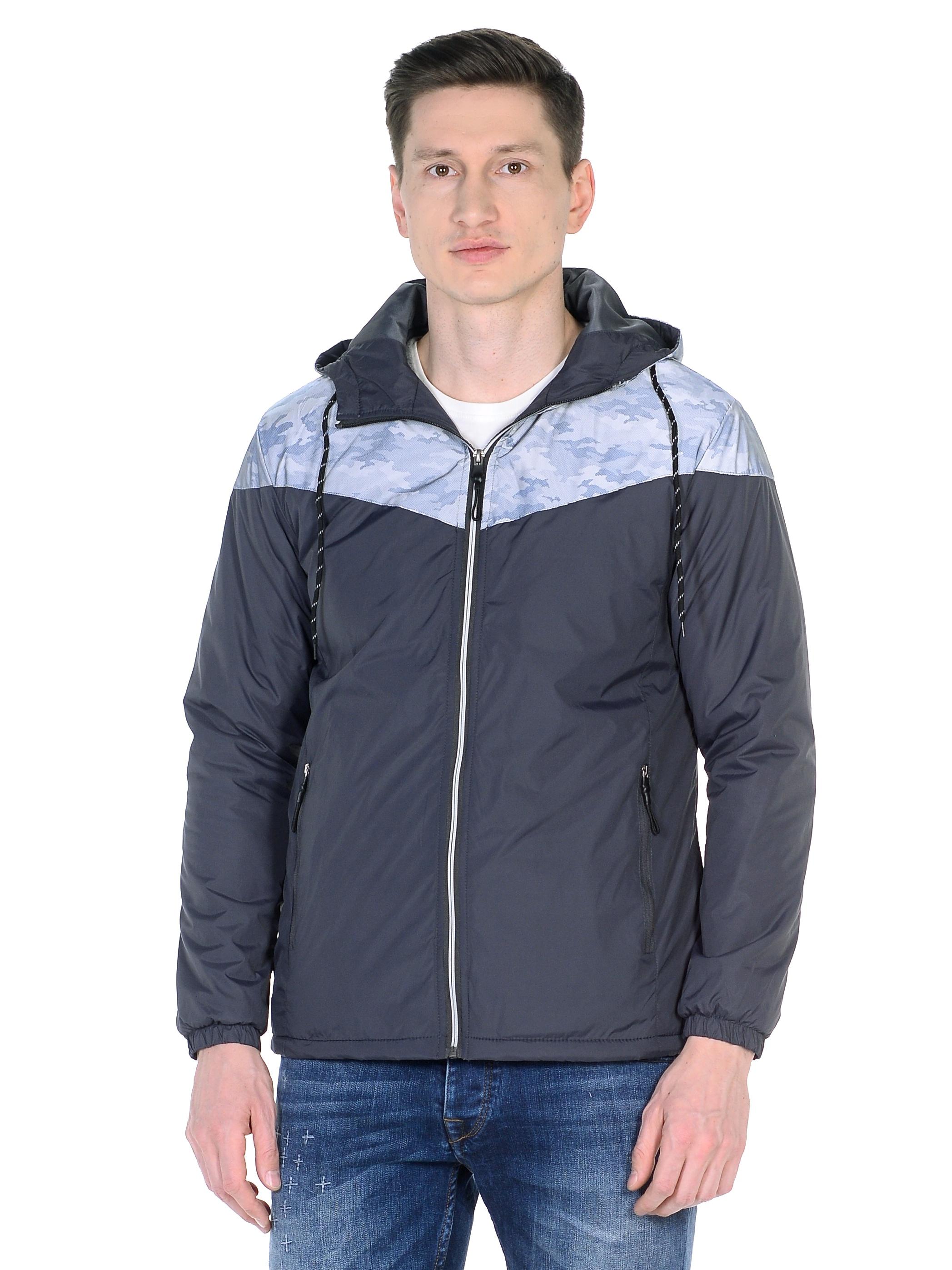 Мужская куртка из текстиля с капюшоном, без отделки<br><br>Воротник: капюшон<br>Длина см: Короткая (51-74 )<br>Материал: Текстиль<br>Цвет: серый<br>Вид застежки: центральная<br>Застежка: на молнии<br>Пол: Мужской<br>Размер RU: 52