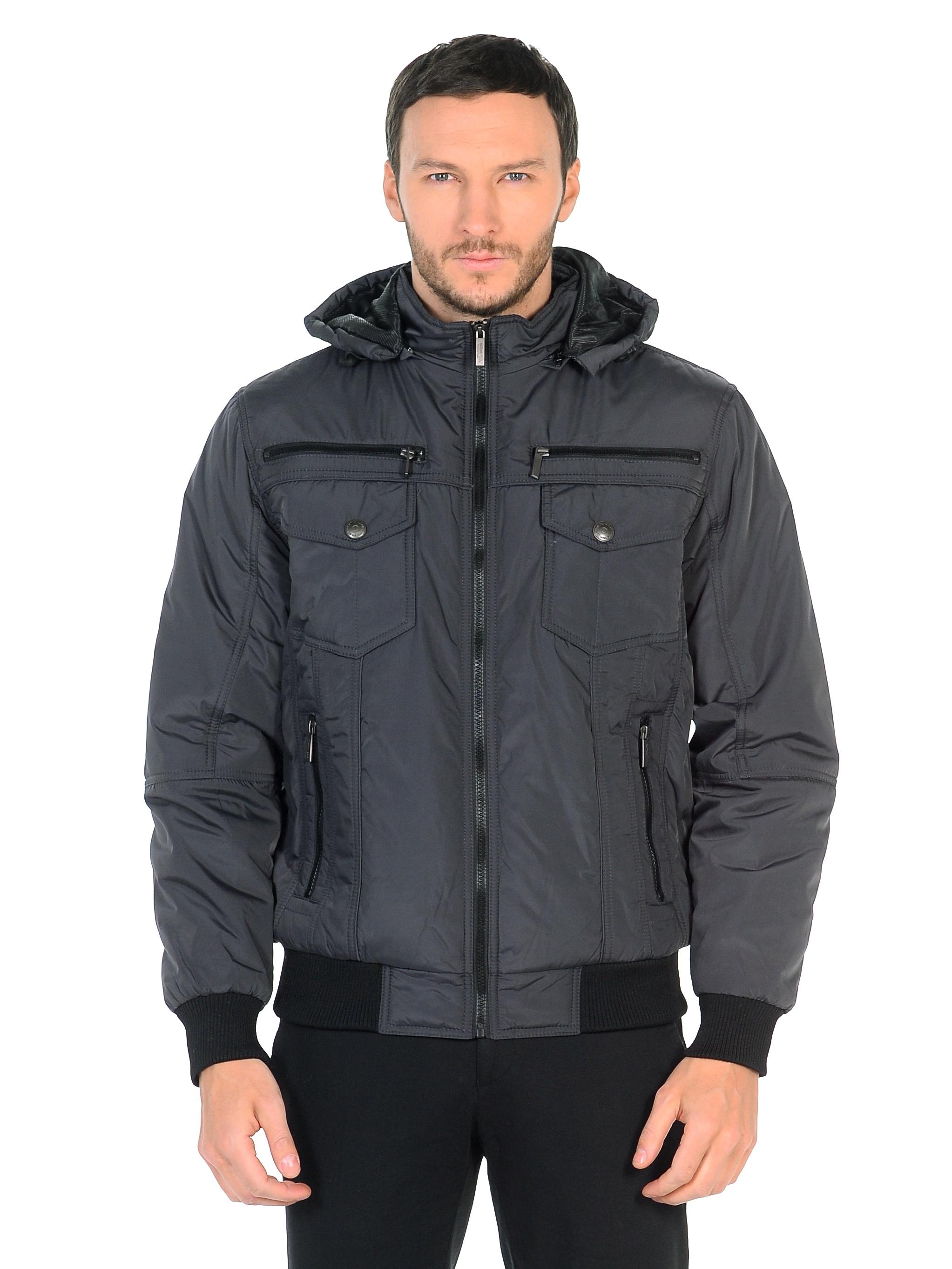 Мужская куртка из текстиля с капюшоном, без отделки<br><br>Воротник: съемный капюшон<br>Длина см: Средняя (75-89 )<br>Материал: Текстиль<br>Цвет: серый<br>Вид застежки: центральная<br>Застежка: на молнии<br>Пол: Мужской<br>Размер RU: 58