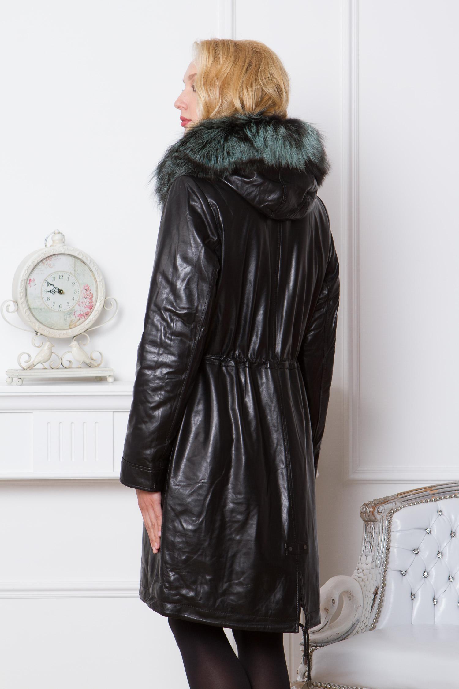 Парка женская из натуральной кожи с капюшоном, отделка чернобурка от Московская Меховая Компания