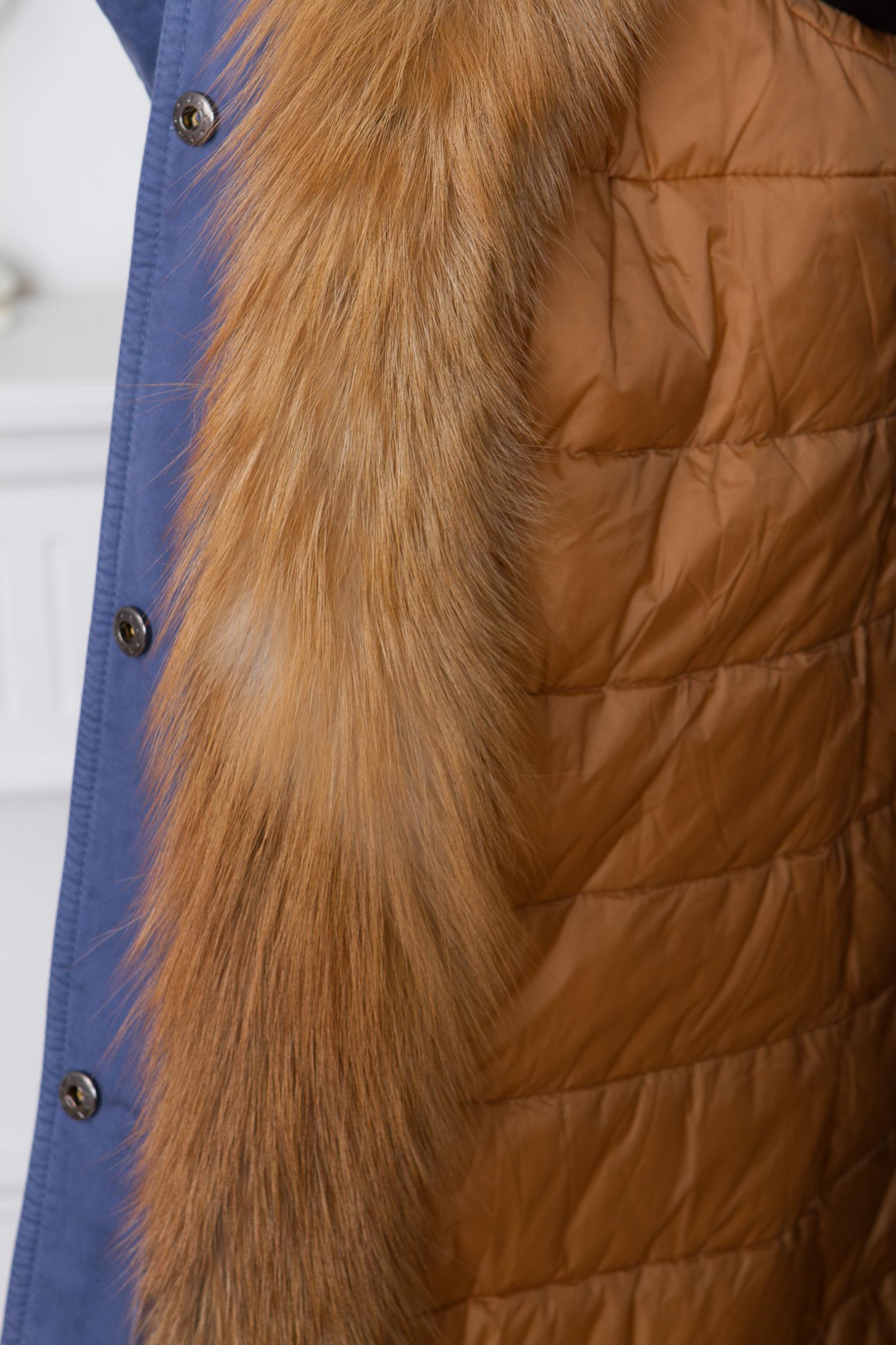 Парка женская с капюшоном, отделка натуральным мехом лисы от Московская Меховая Компания