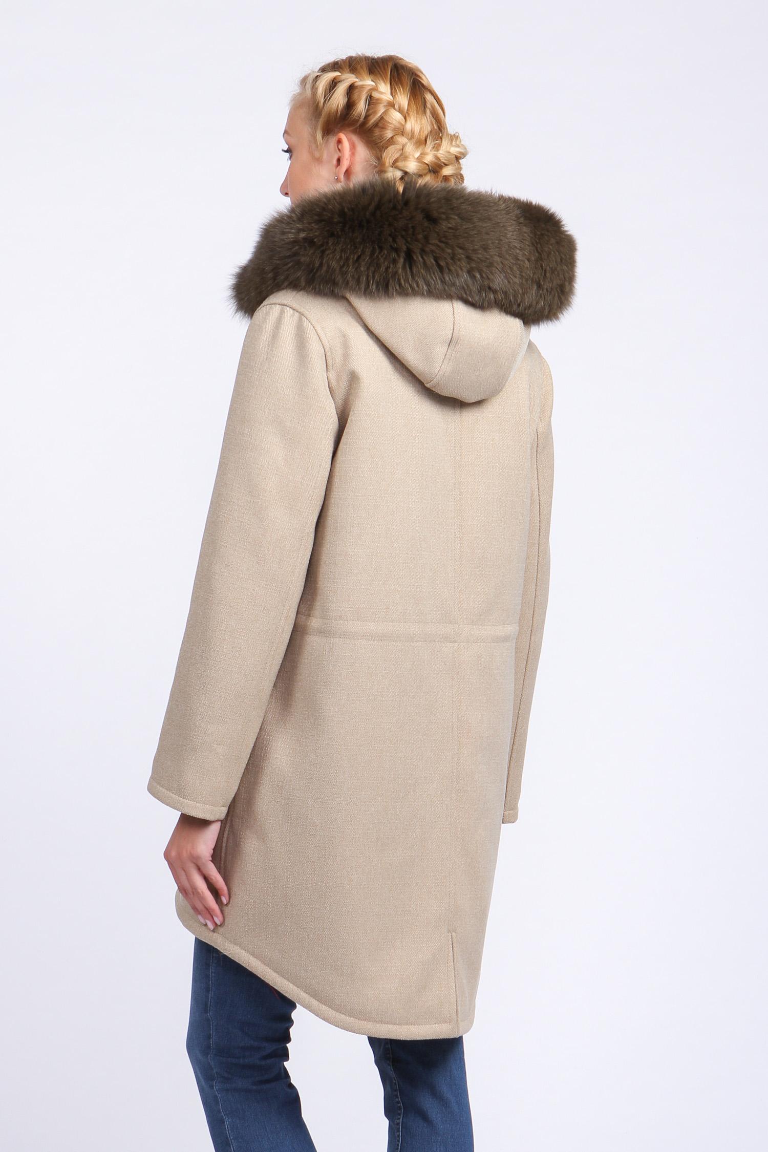 Парка женская с капюшоном, отделка песец от Московская Меховая Компания