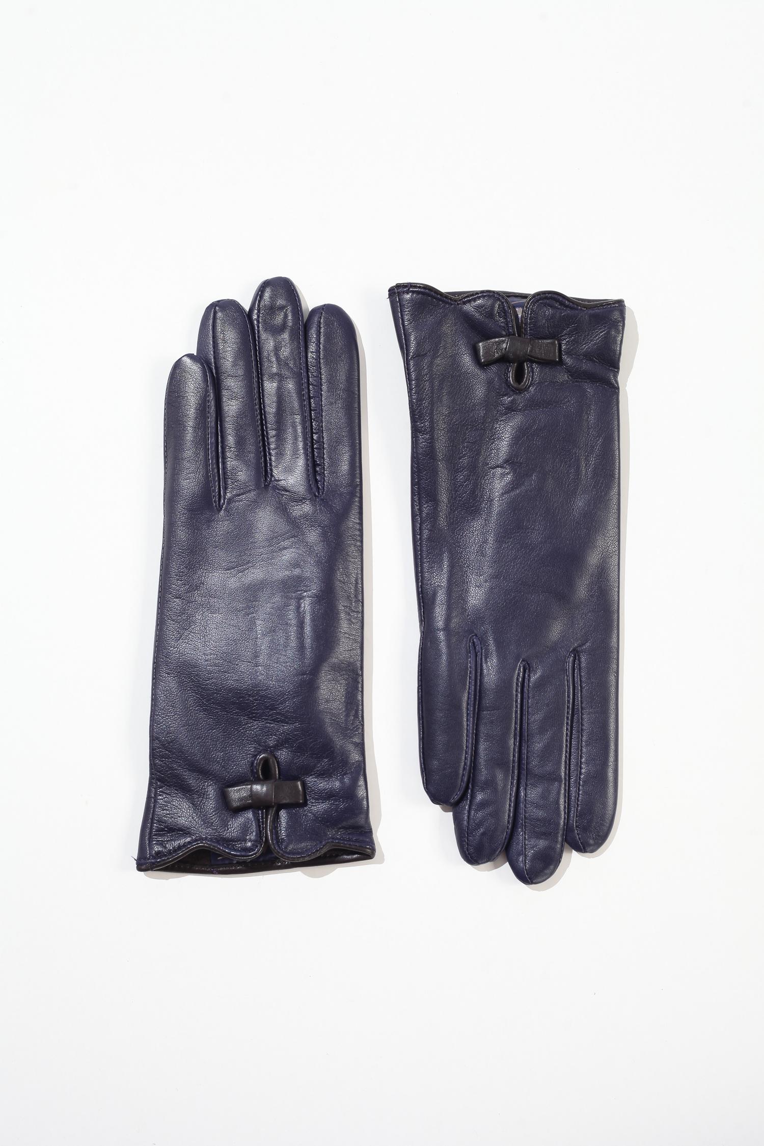 Перчатки женские из натуральной кожи<br><br>Материал: Кожа<br>Цвет: Синий<br>Пол: Женский