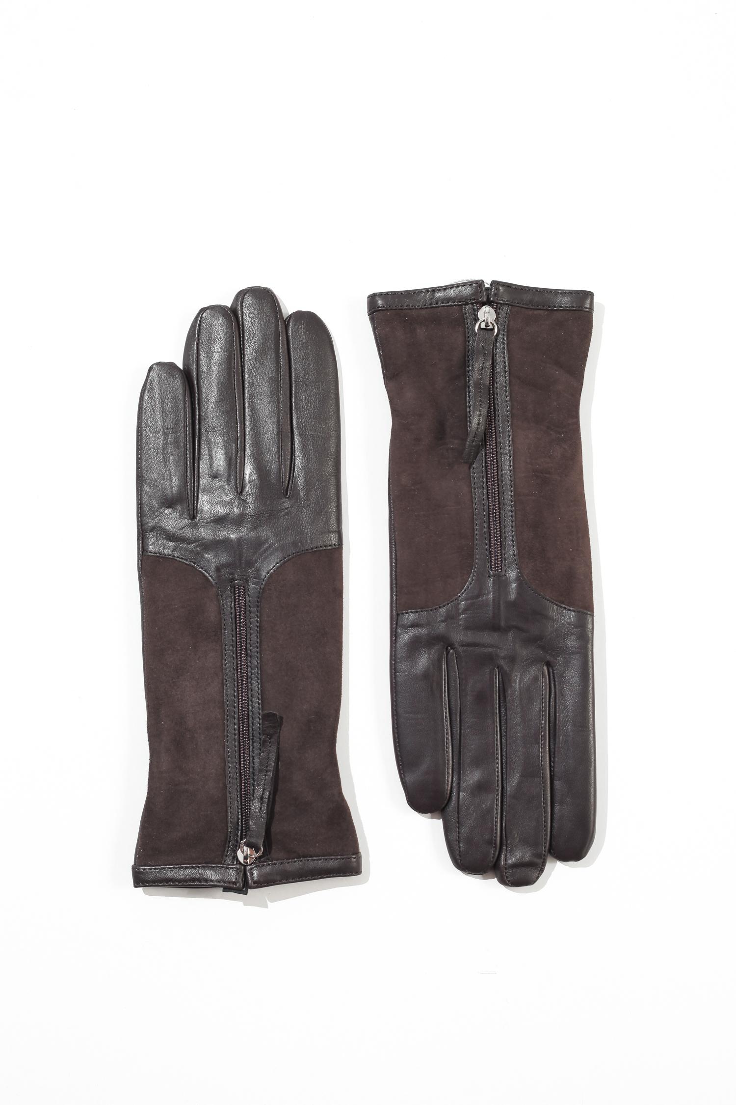 Перчатки женские из натуральной кожи и замши<br><br>Материал: Кожа овчина<br>Цвет: коричневый<br>Пол: Женский<br>Размер RU: 6.5