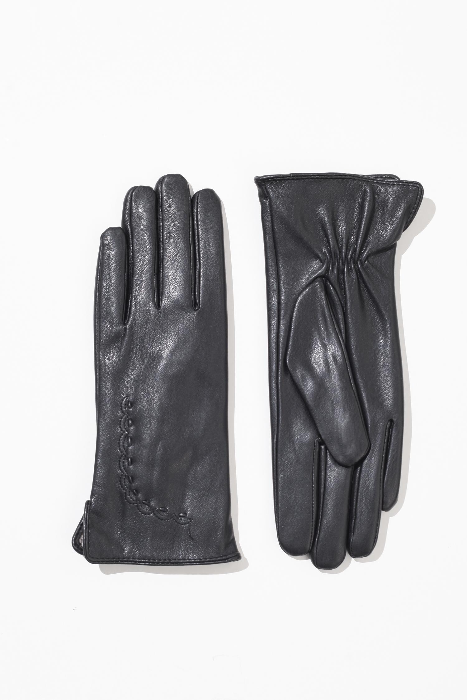 Перчатки женские из натуральной кожи<br><br>Материал: Кожа<br>Цвет: Черный<br>Пол: Женский