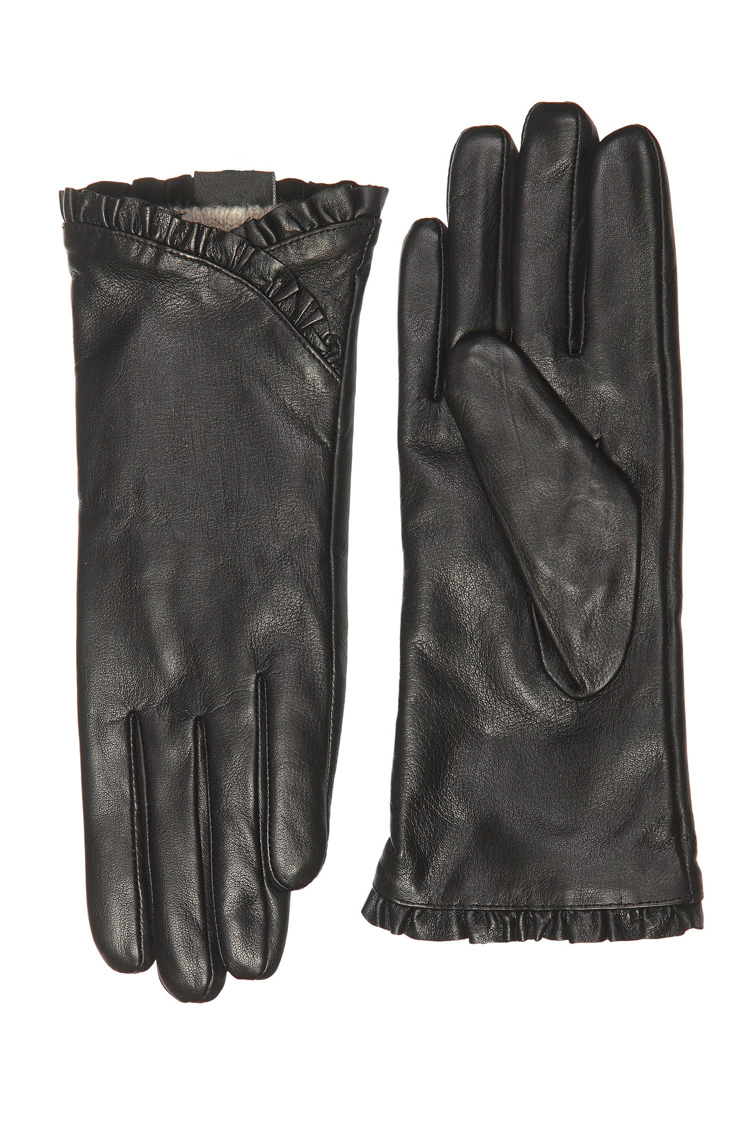 Перчатки женские из натуральной кожи<br><br>Материал: Кожа овчина<br>Цвет: черный<br>Пол: Женский<br>Размер RU: 8.5