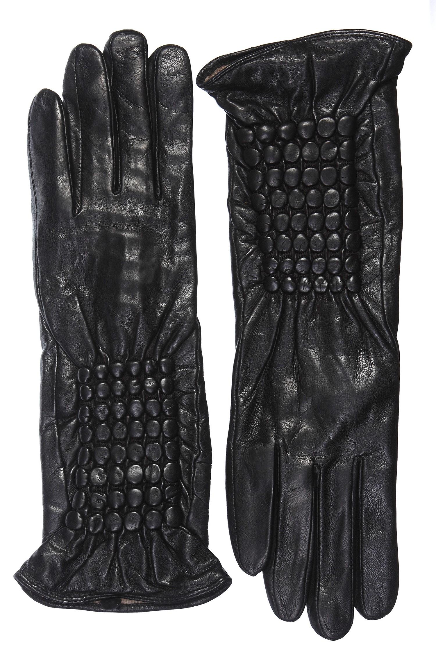 Перчатки женские из натуральной кожи<br><br>Материал: Кожа овчина<br>Цвет: черный<br>Пол: Женский<br>Размер RU: 6.5