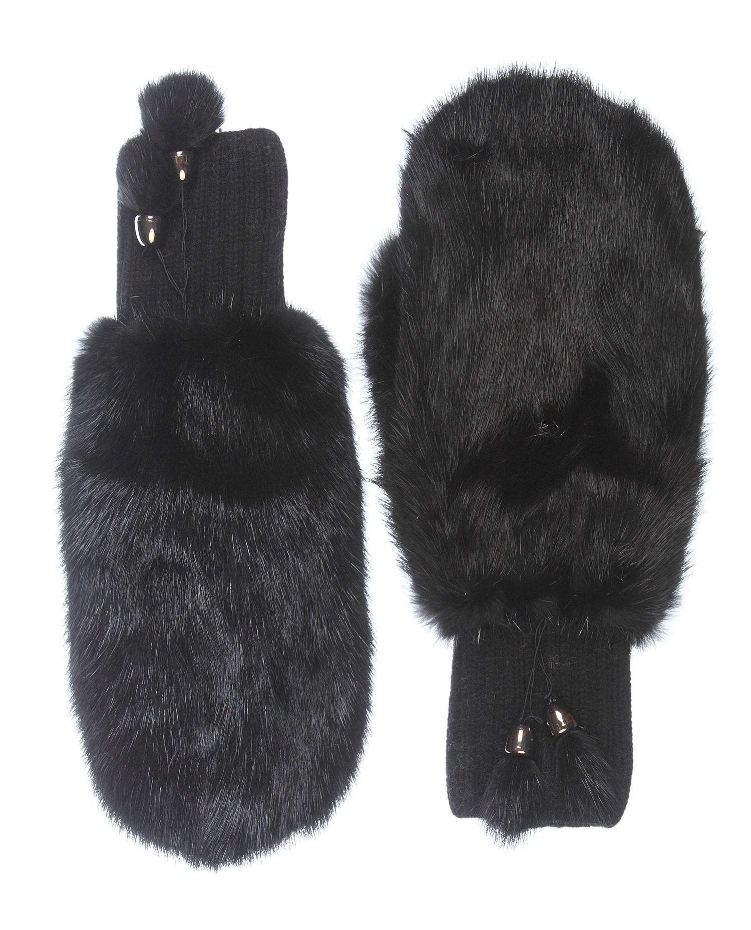 Варежки женские из норки<br><br>Материал: Норка<br>Цвет: черный<br>Пол: Женский