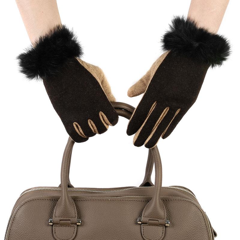Перчатки женские из текстиля, отделка кролик от Московская Меховая Компания