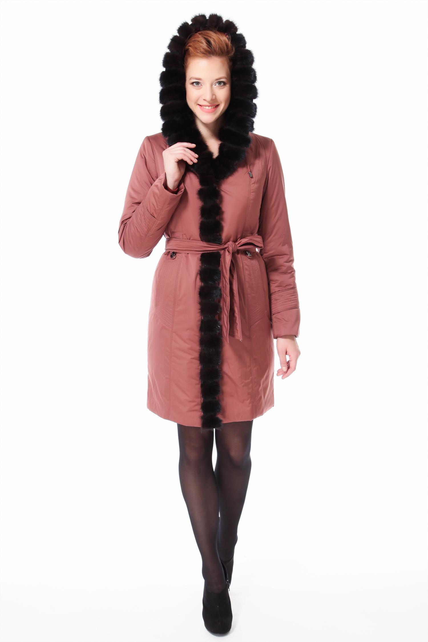 Пальто на меху с капюшоном, отделка норка от Московская Меховая Компания