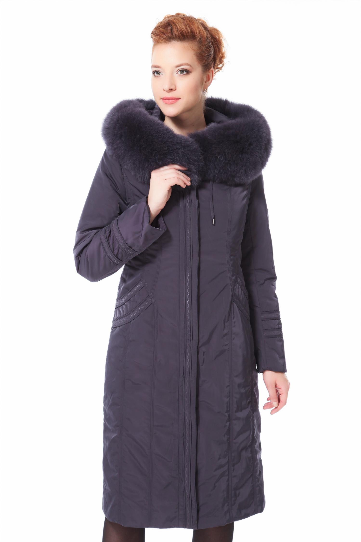 Пальто на меху с капюшоном, отделка песец