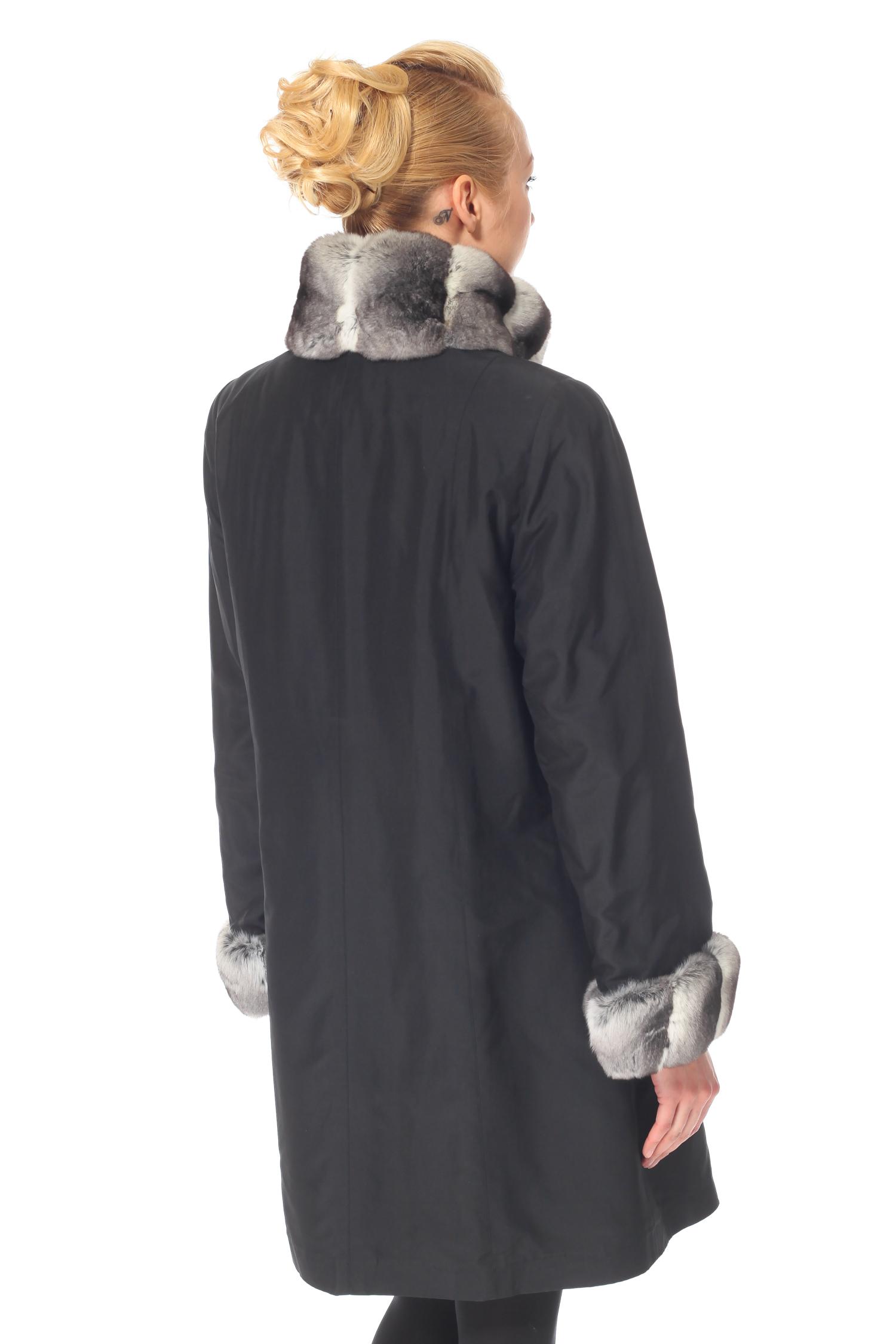 Пальто двухстороннее на меху с воротником, отделка норка, Рекс от Московская Меховая Компания