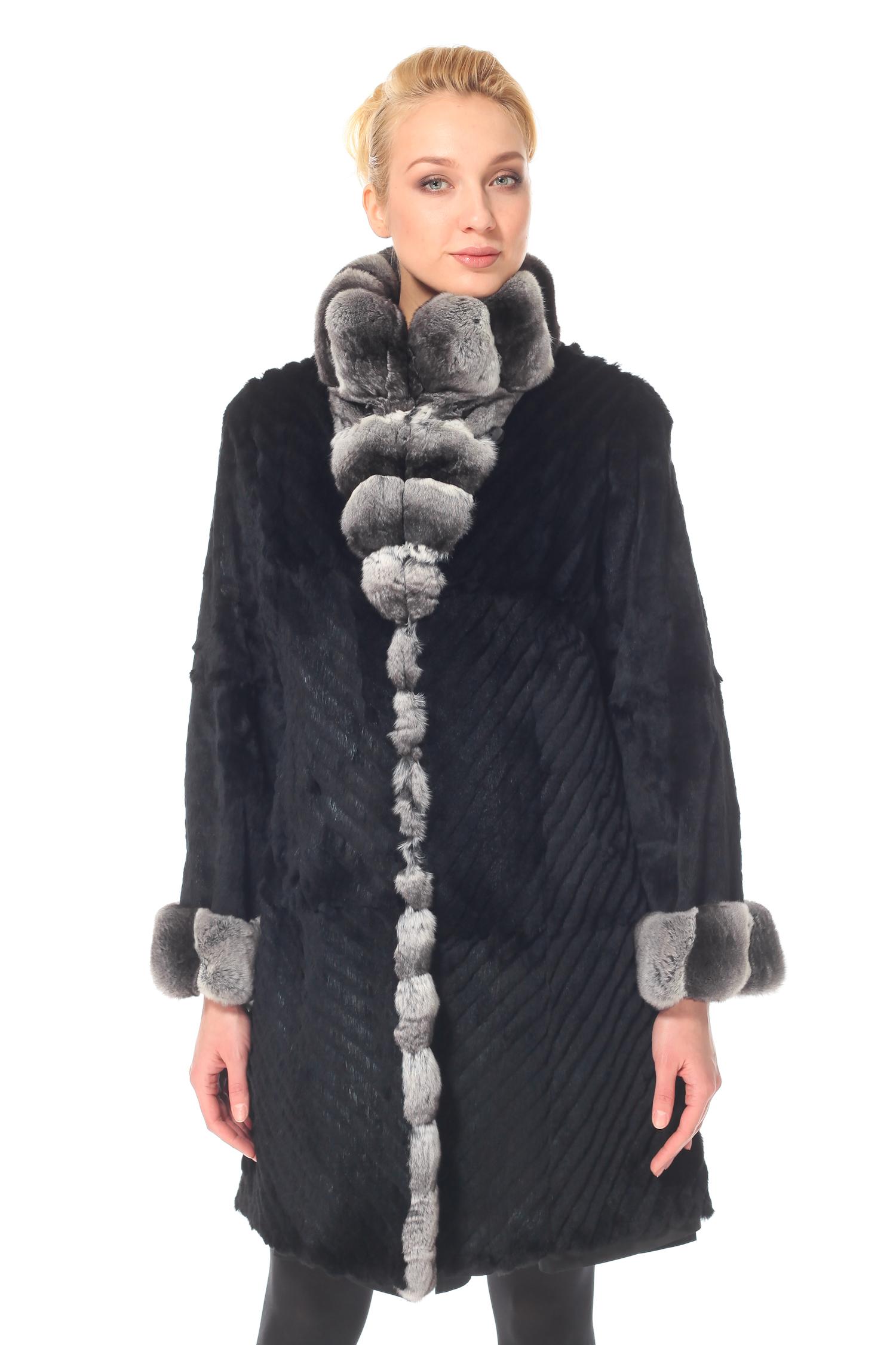Пальто двухстороннее на меху с воротником, отделка норка, Рекс<br><br>Длина см: Длинная (свыше 90)<br>Материал: Текстиль<br>Воротник: стойка<br>Цвет: черный<br>Вид застежки: центральная<br>Застежка: на пуговицы<br>Пол: Женский<br>Размер RU: 44