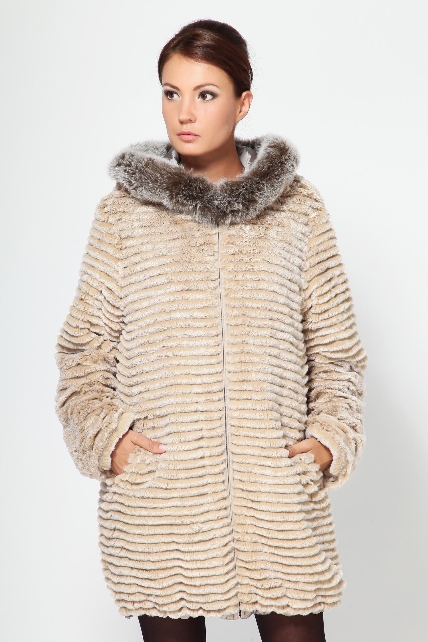 Пальто двустороннее с капюшоном, отделка песец от Московская Меховая Компания