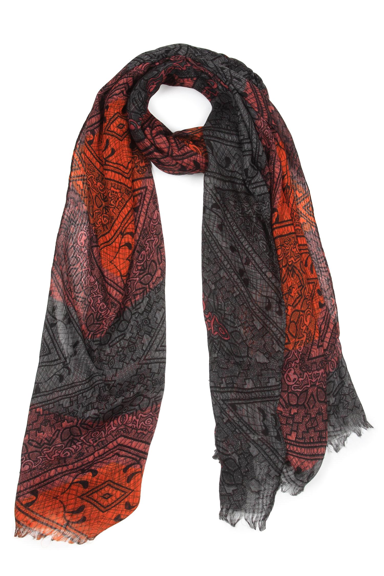 Шарф из вискозы<br><br>Материал: Текстиль<br>Цвет: кораловый<br>Пол: Женский