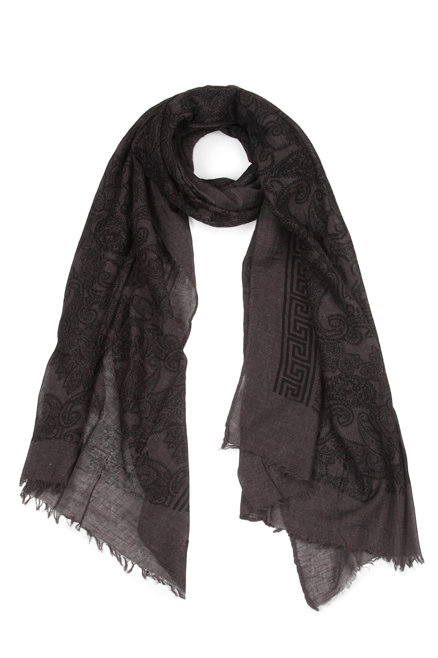 Шарф из текстиля<br><br>Материал: Текстиль<br>Цвет: серый<br>Пол: Женский