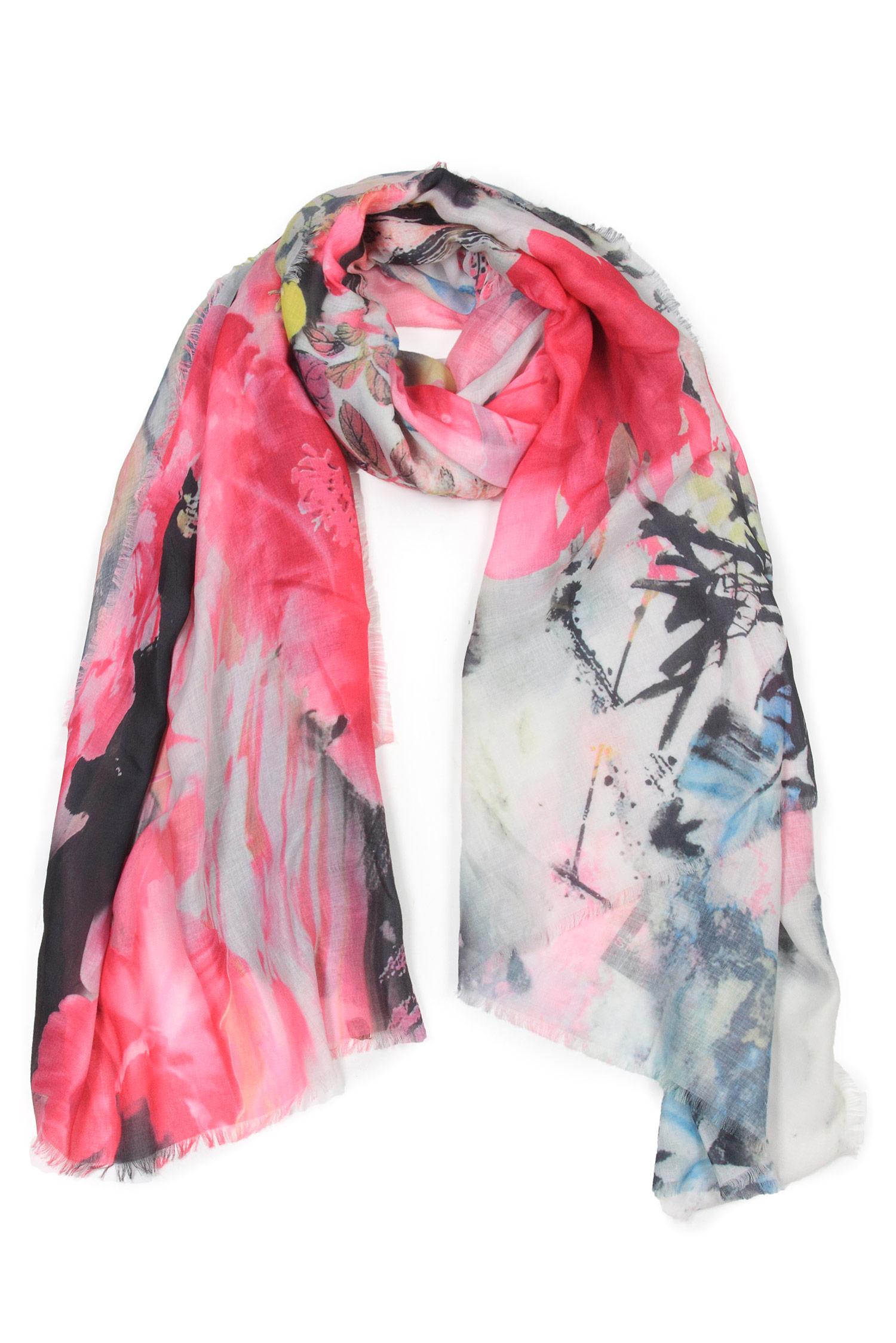 Шарф из вискозы<br><br>Материал: Текстиль<br>Цвет: розовый<br>Пол: Женский