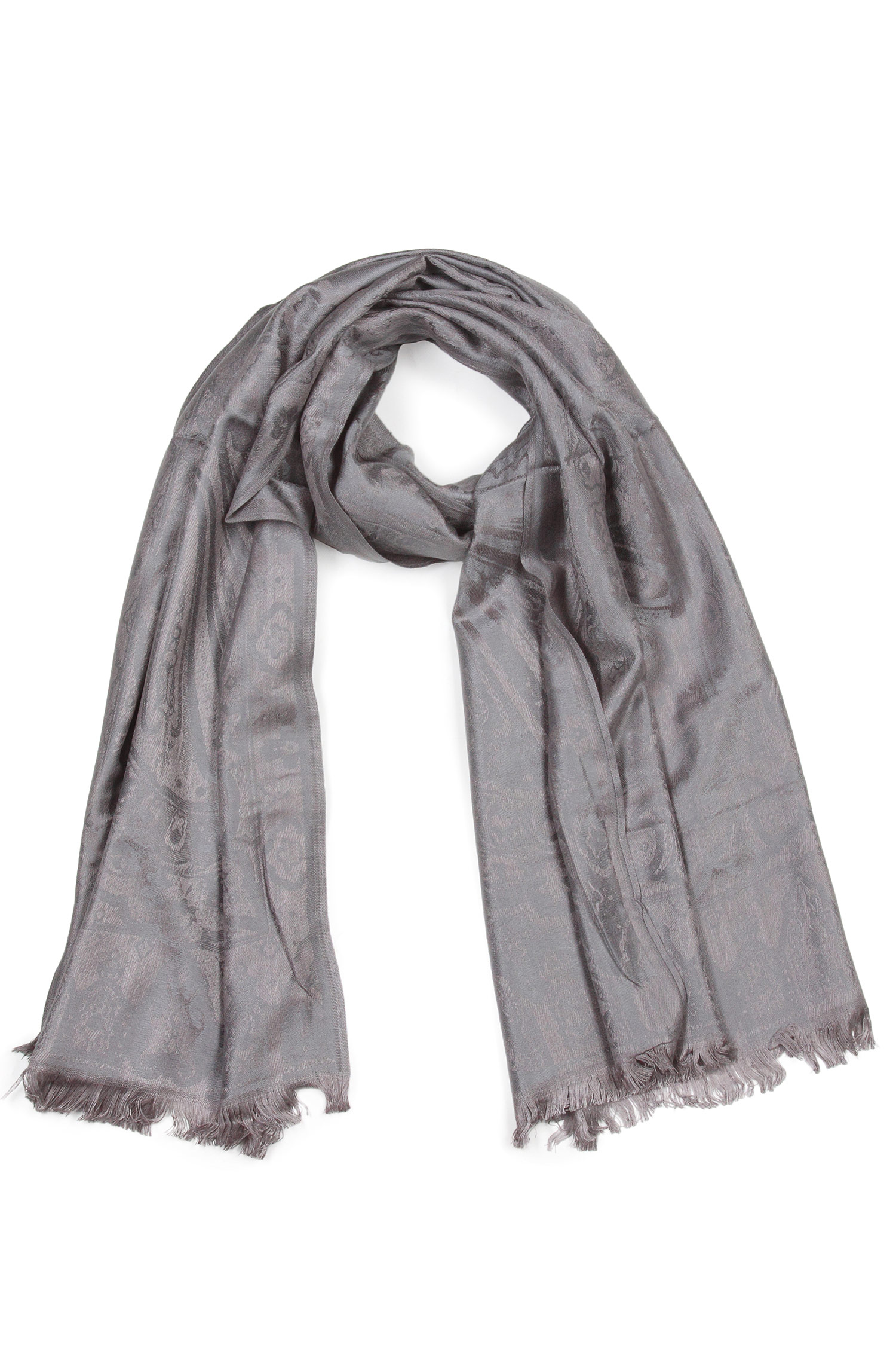 Шарф из вискозы<br><br>Материал: Текстиль<br>Цвет: серый<br>Пол: Женский