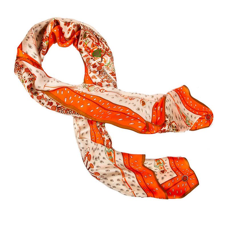 Шарф из текстиля<br><br>Материал: Текстиль<br>Цвет: оранжевый<br>Пол: Женский